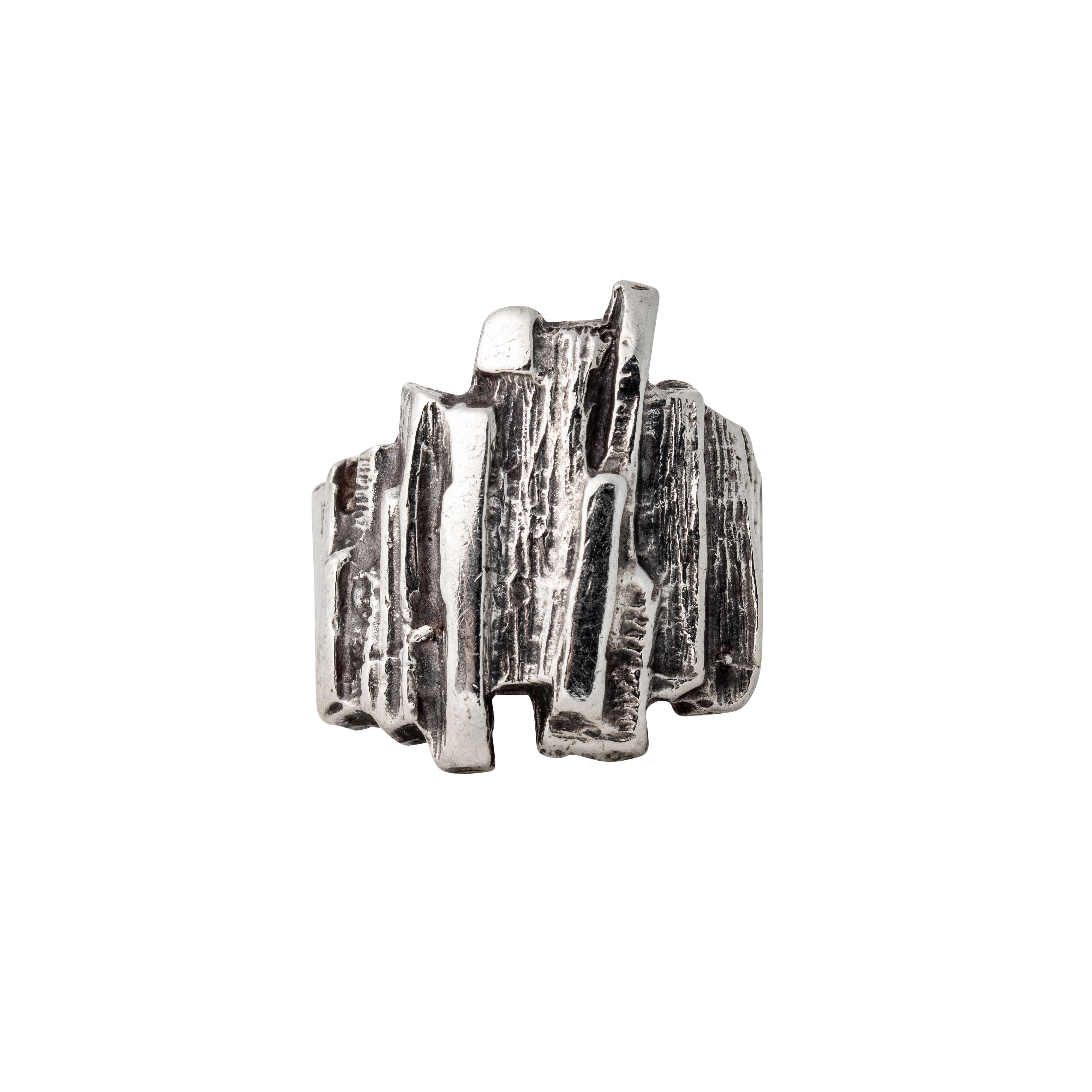 Gaia brutalisme ring, sterling sølv