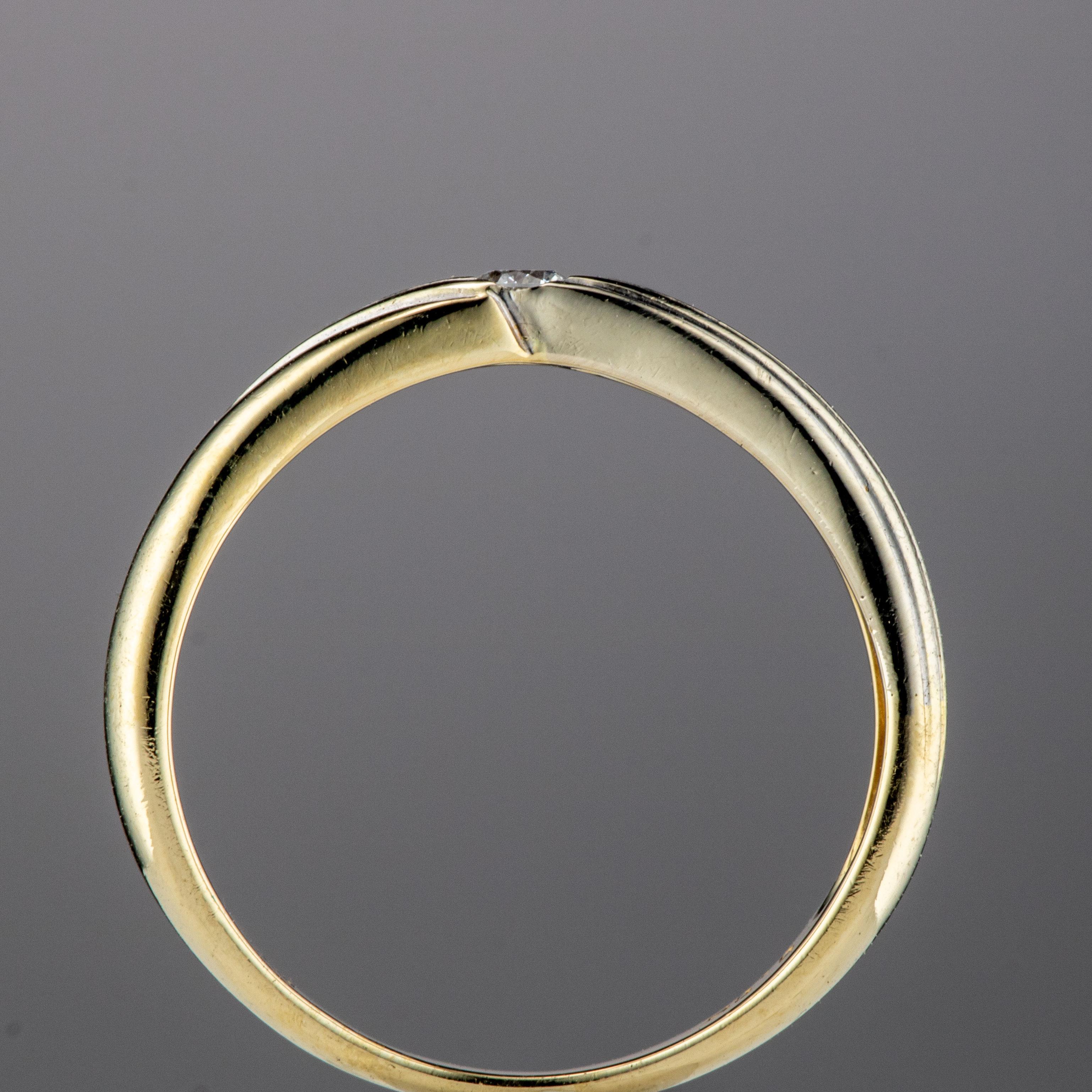 Ring, gult gull, diamant (0,06 ct.)