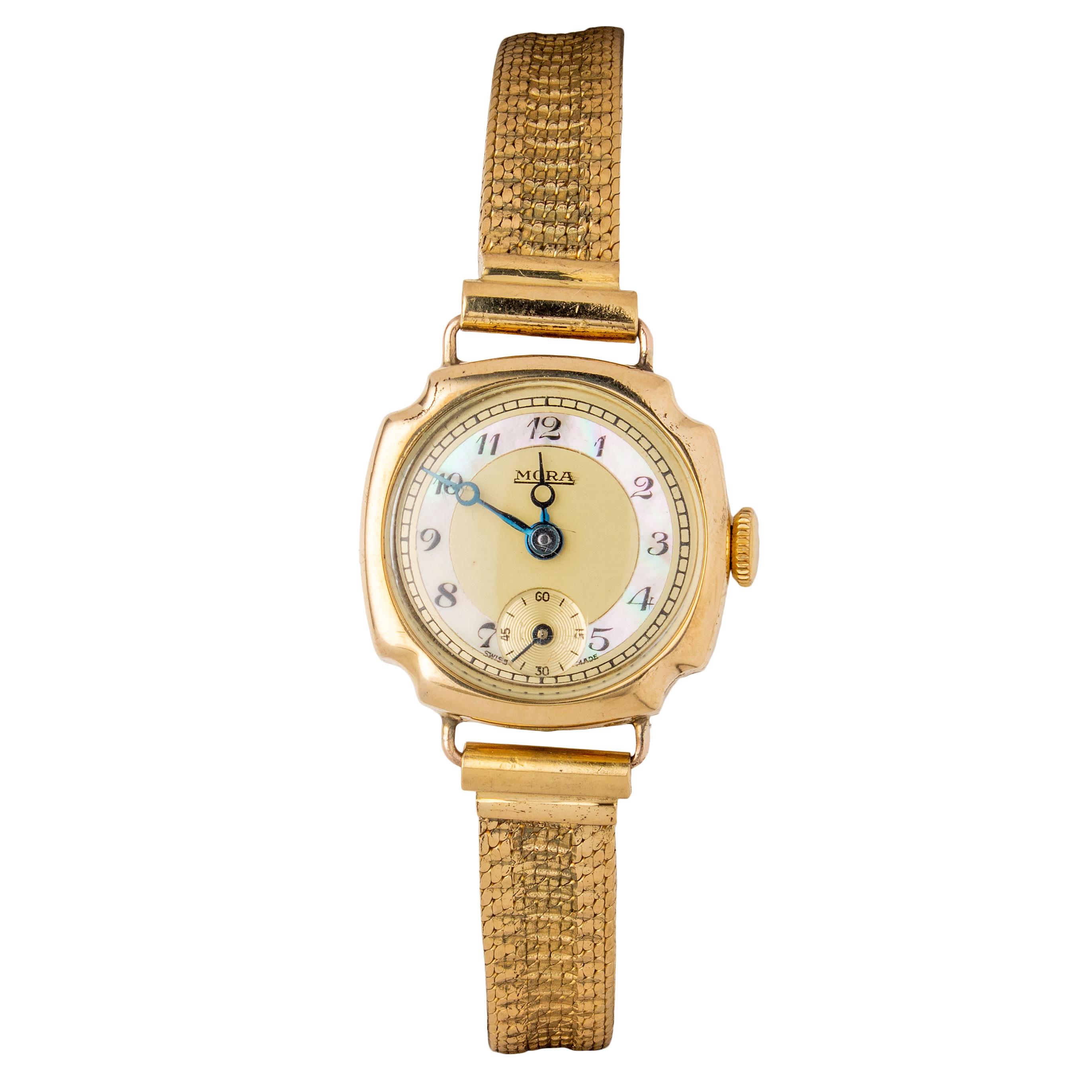Mora armbåndsur, gult gull