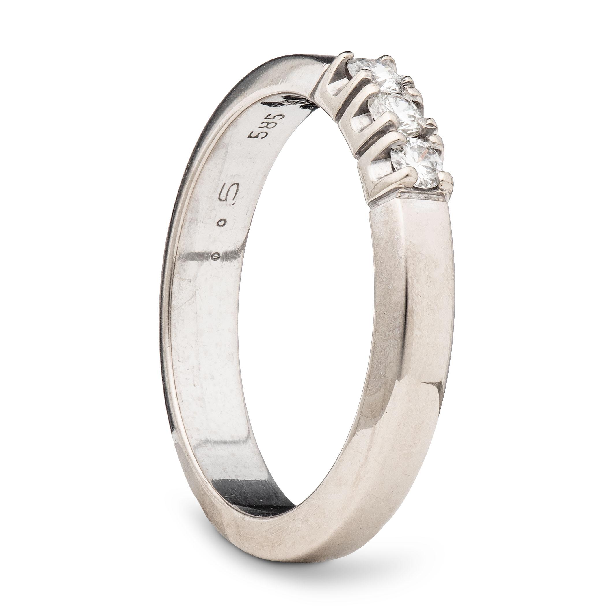 Ring, hvitt gull, diamanter (0,15 ct.)