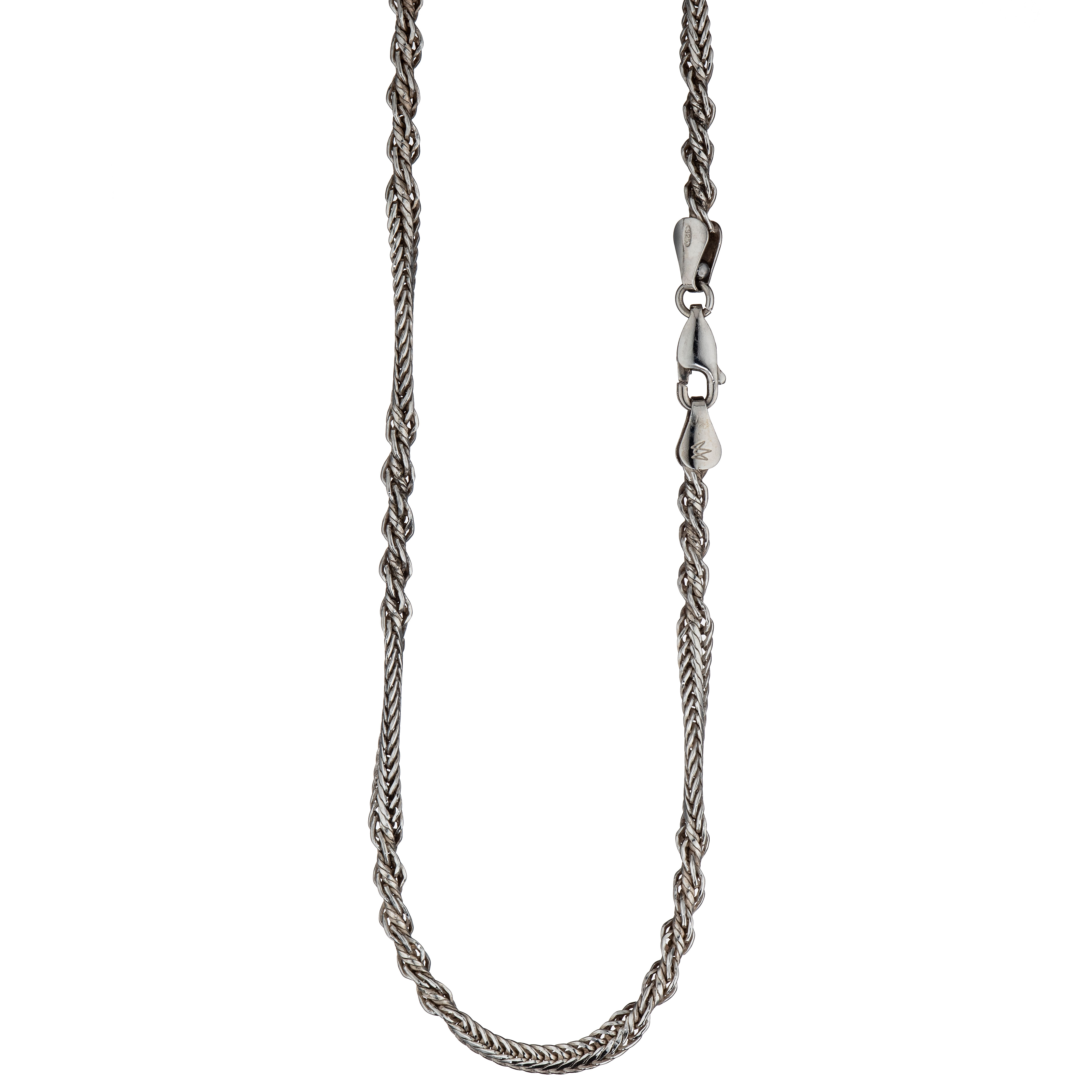 Vridd foxtail halskjede 40 cm, sterling sølv