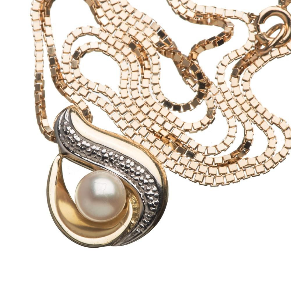 Halssmykke, gult, hvitt gull, perle, diamant