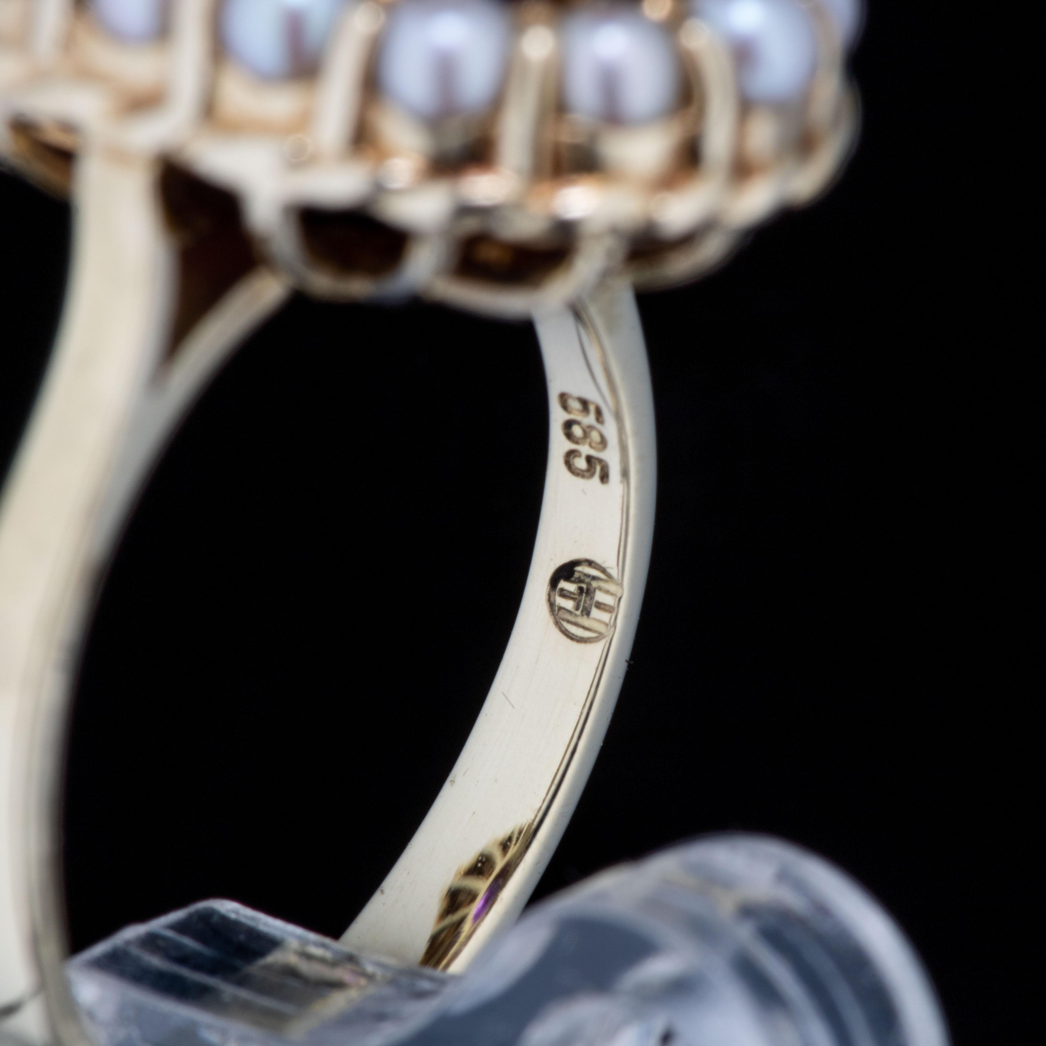 Ring, gult gull, ametyst, perler