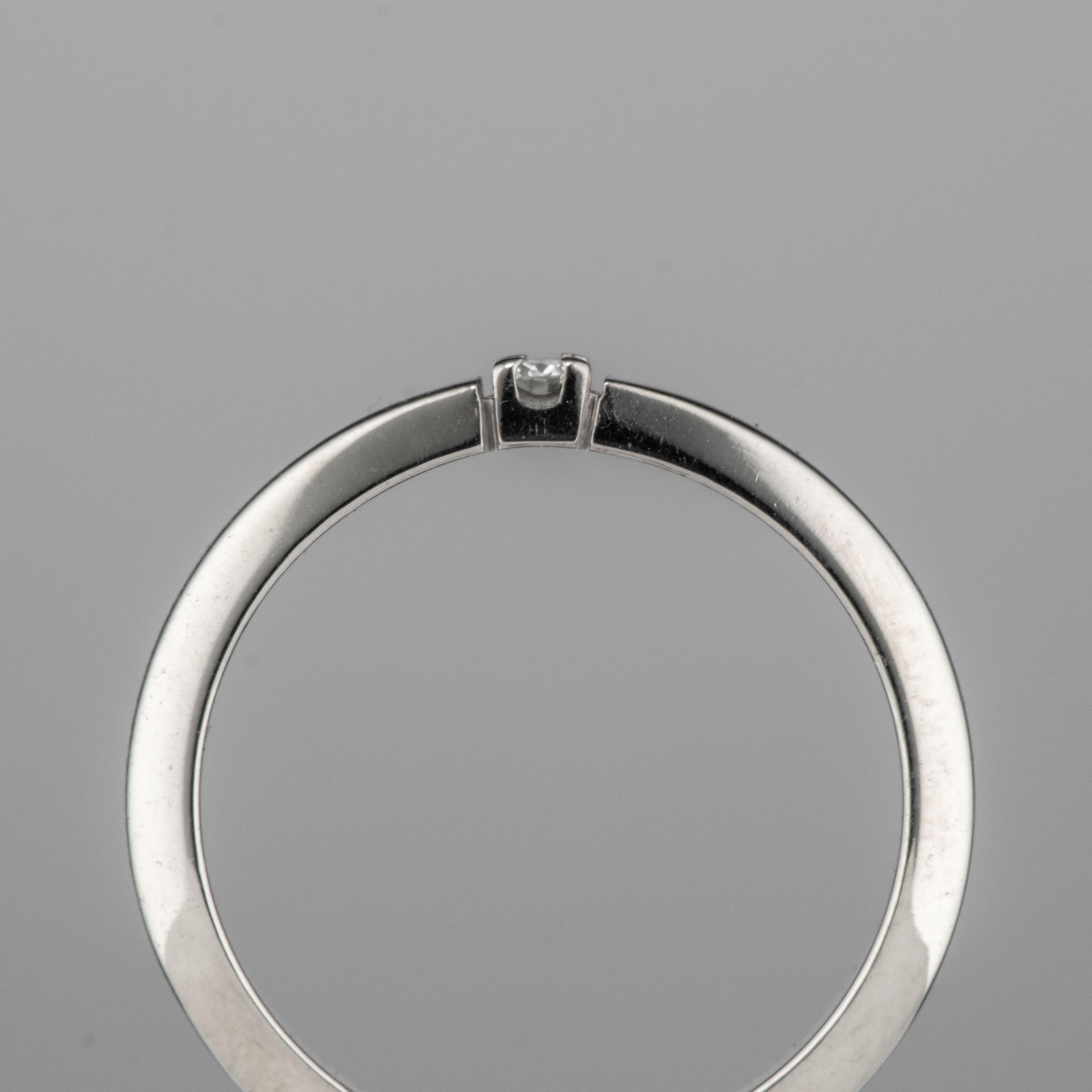 Ring, hvitt gull, diamant (0,05 ct.)