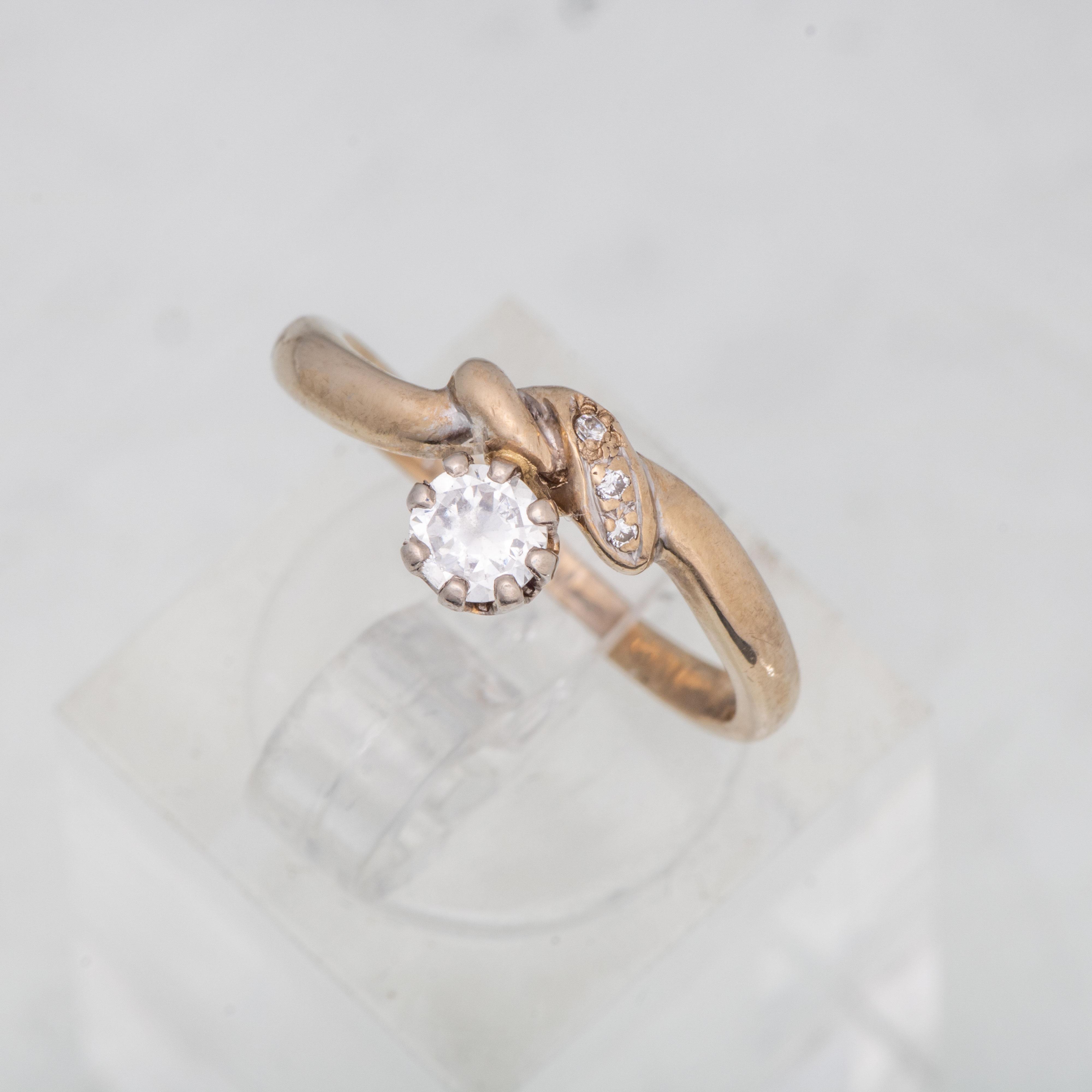 Ring, gult gull, diamanter, kvarts
