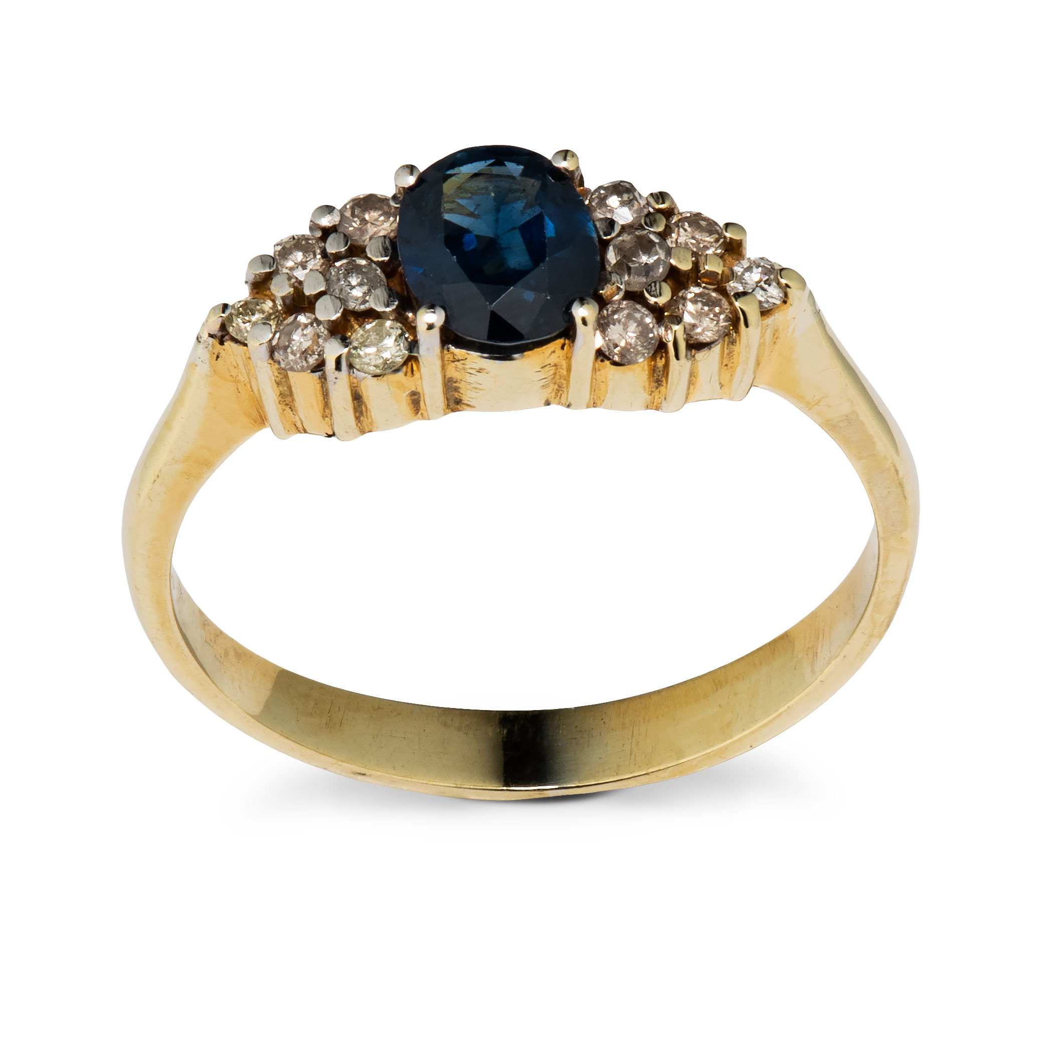Ring, gult gull, safir, diamanter (0,18 ct.)