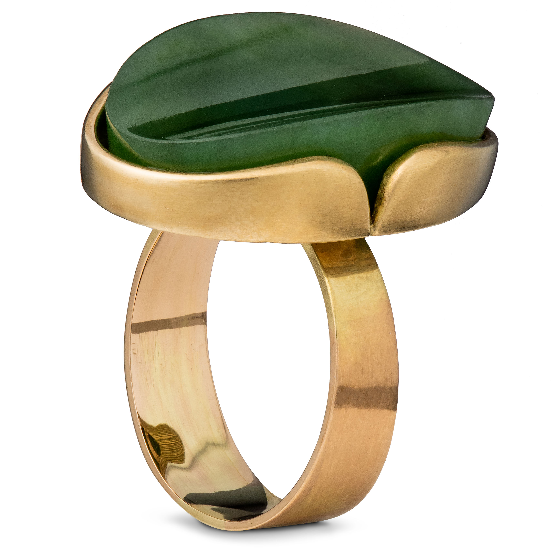 Elis Kauppi ring, gult gull, krysopras