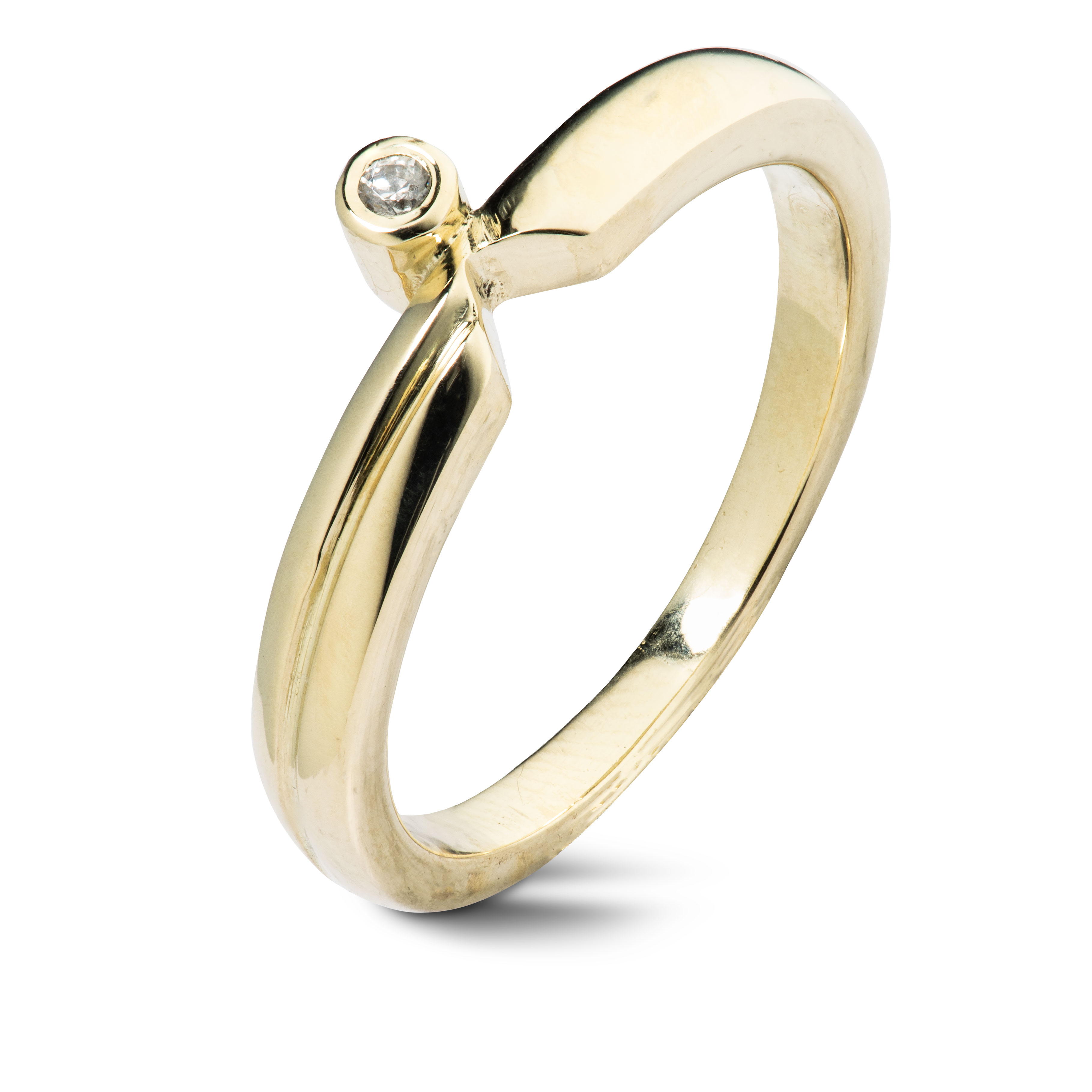 Ring, gult gull, cubic zirconia
