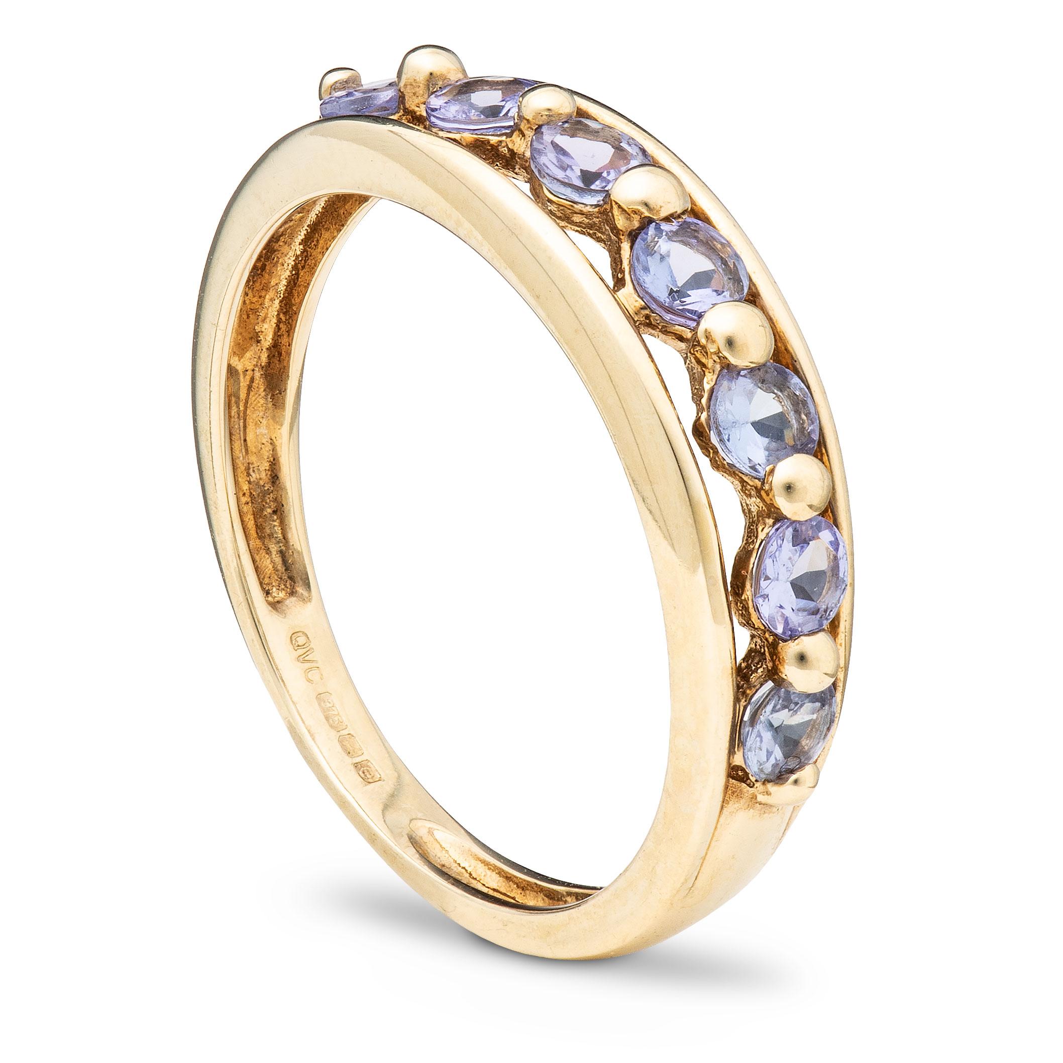 Ring, gult gull, tanzanitt