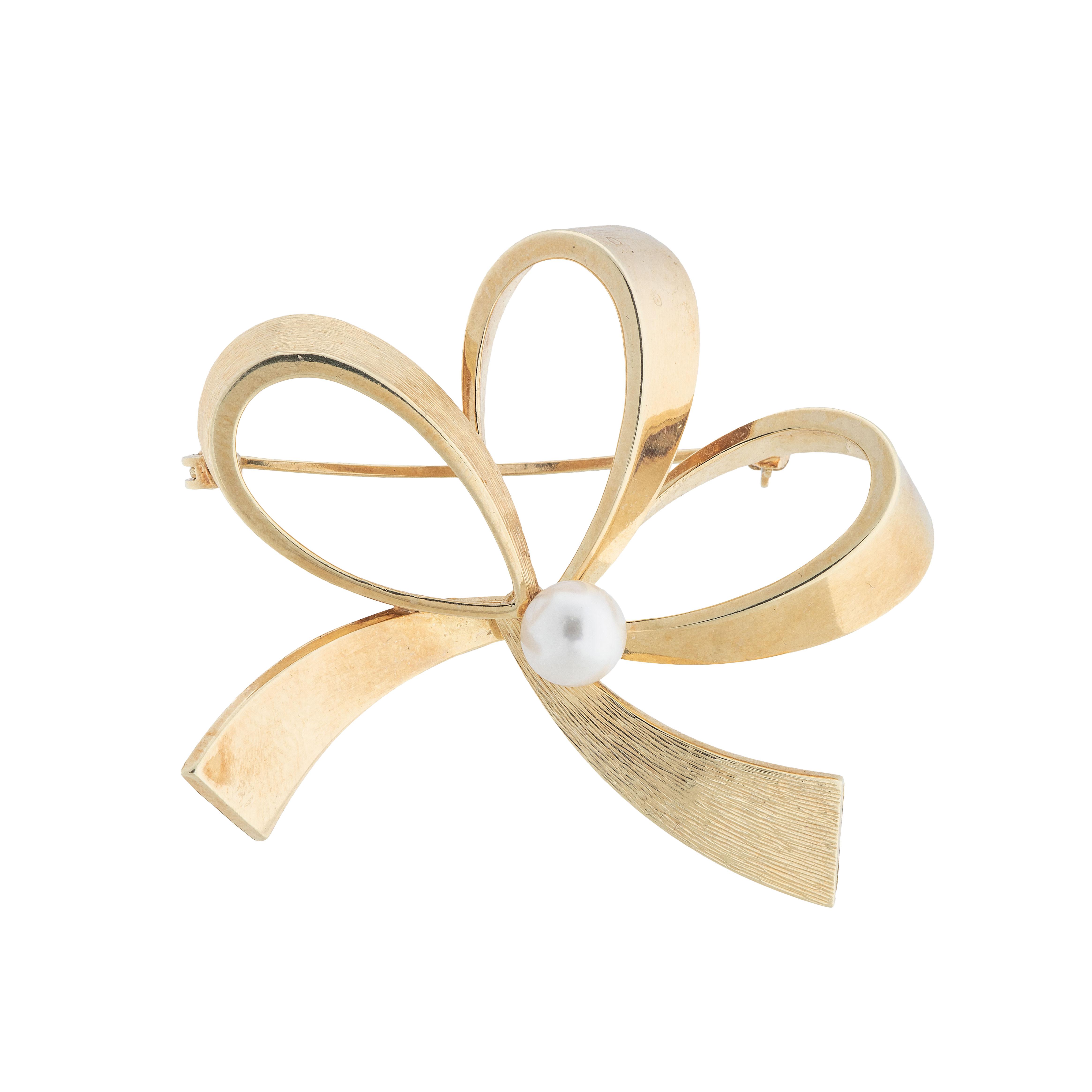 Sløyfebrosje, gult gull, perle