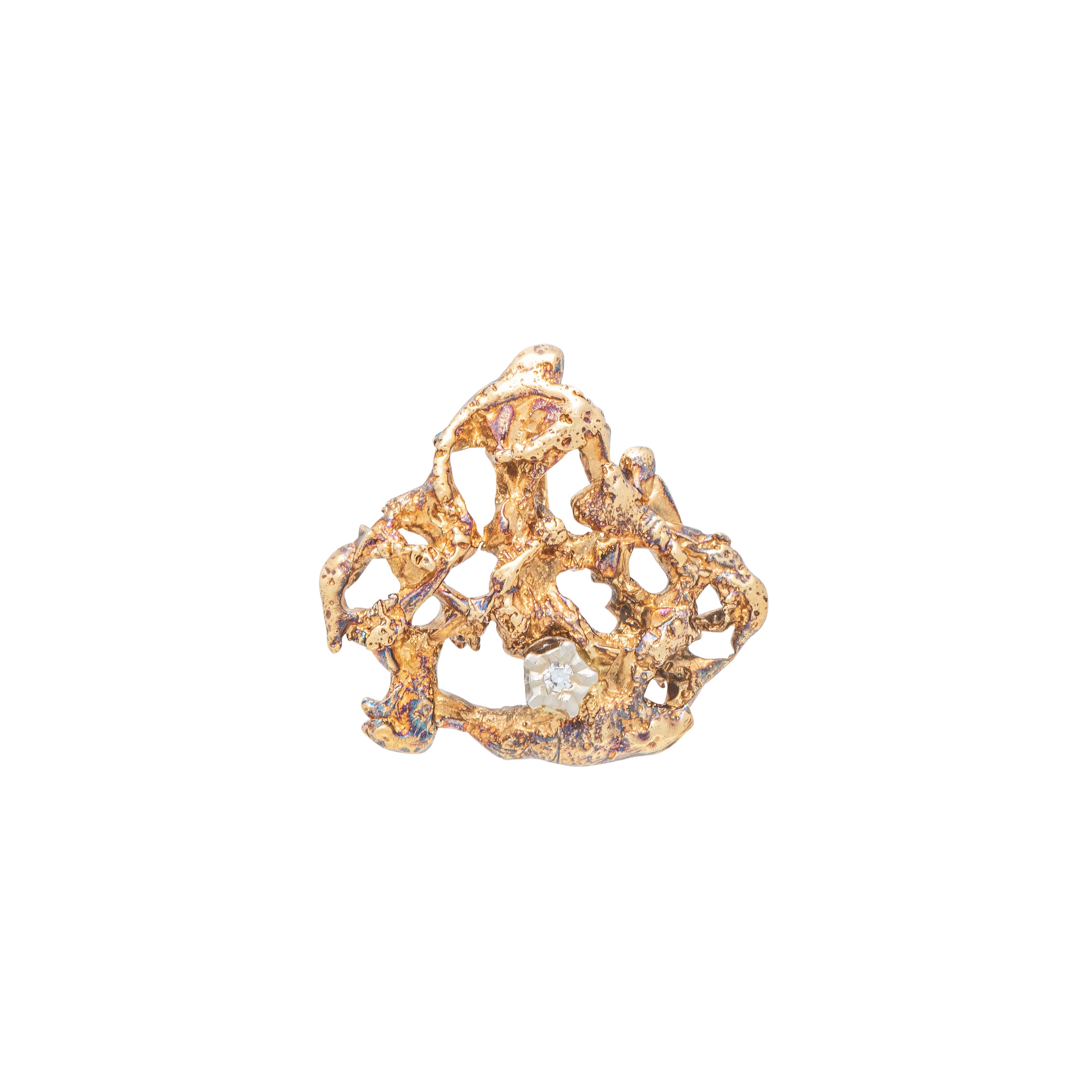 Sigurd Homstvedt rustikk anheng, gult gull, diamant
