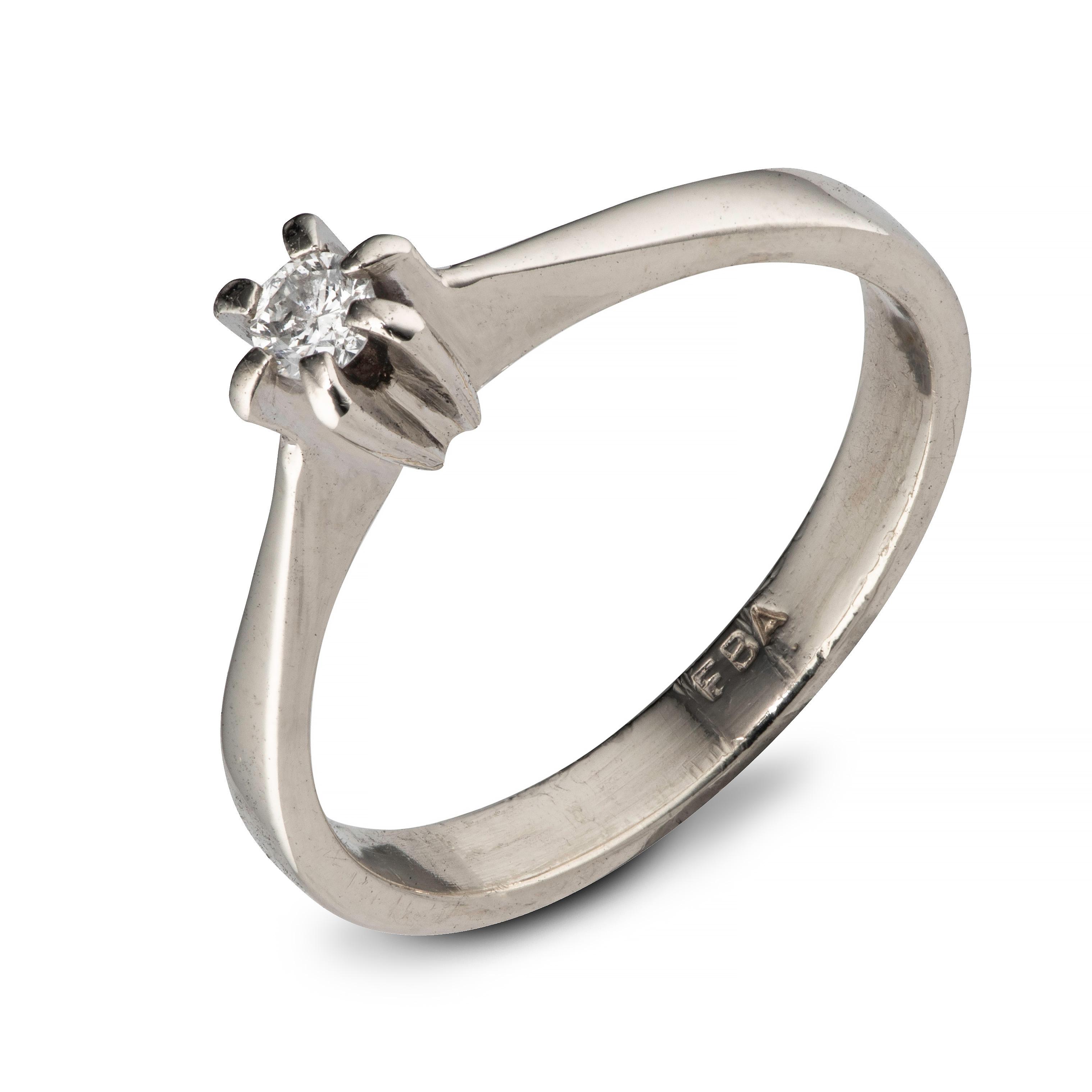 Ring, hvitt gull, diamant (0,11 ct.)