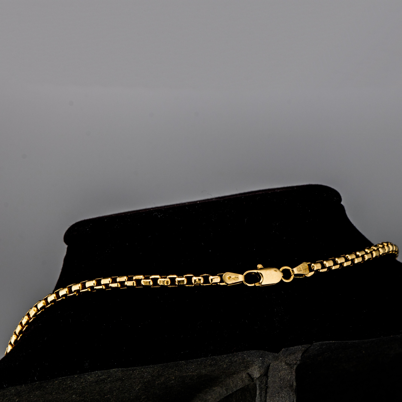 Avrundet venezia halskjede, gult gull