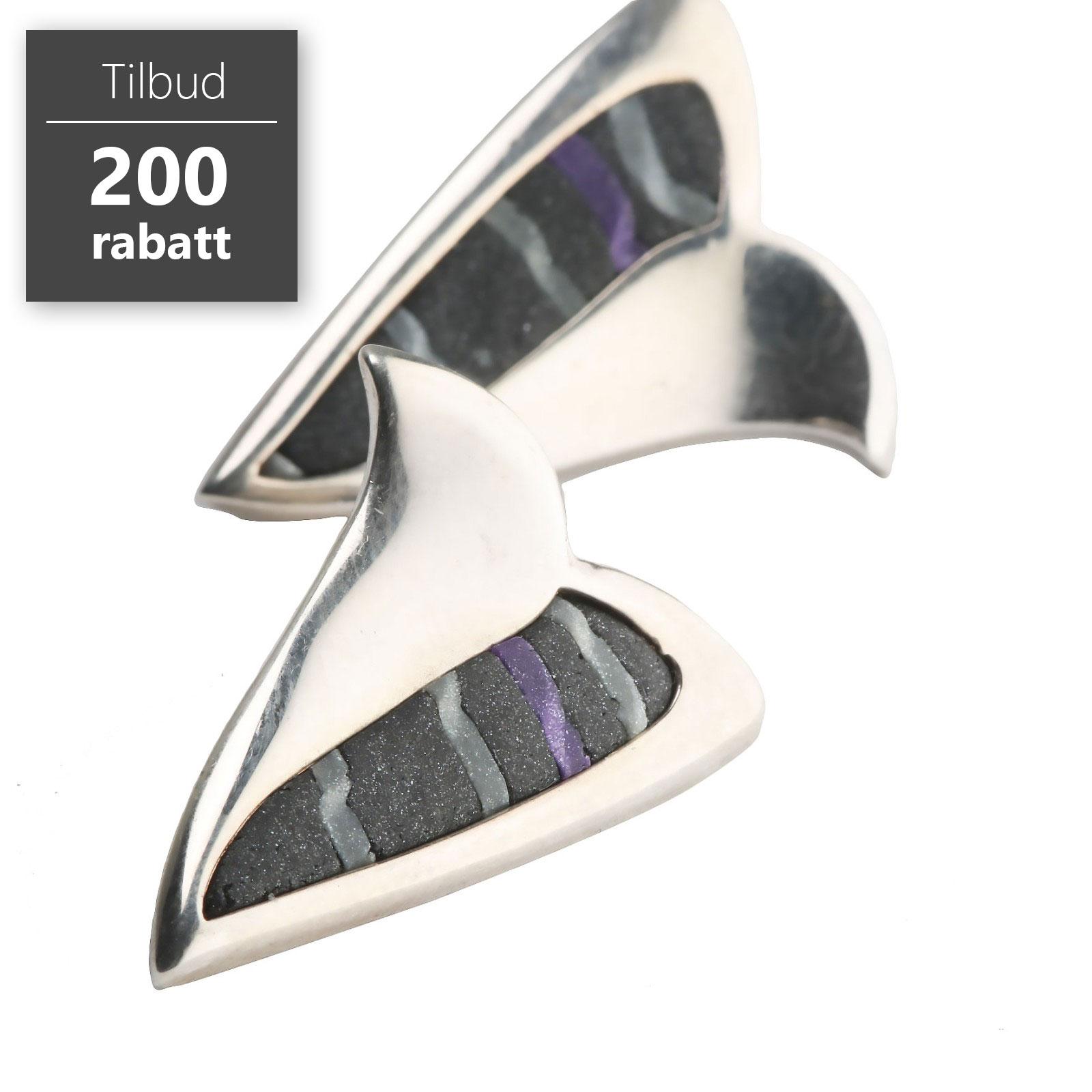 Modernist ørepynt, stein, sølv