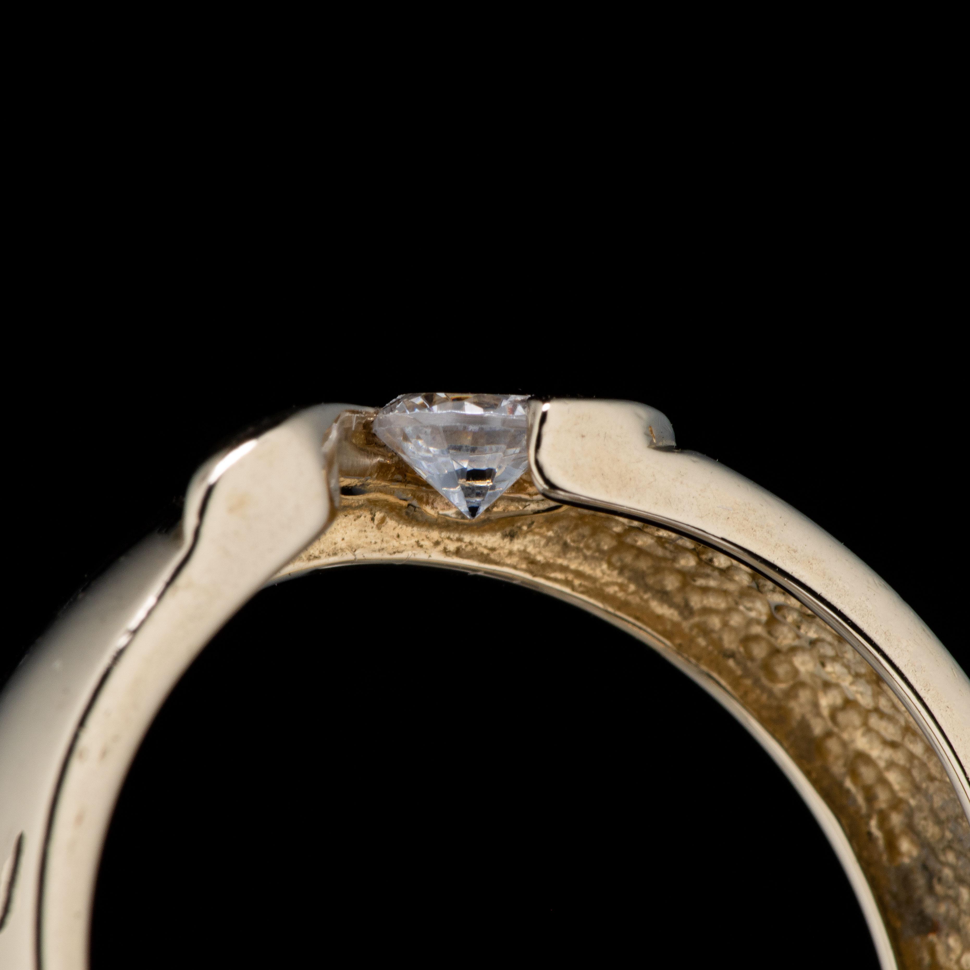Ring, gult gull, cubic zirconia