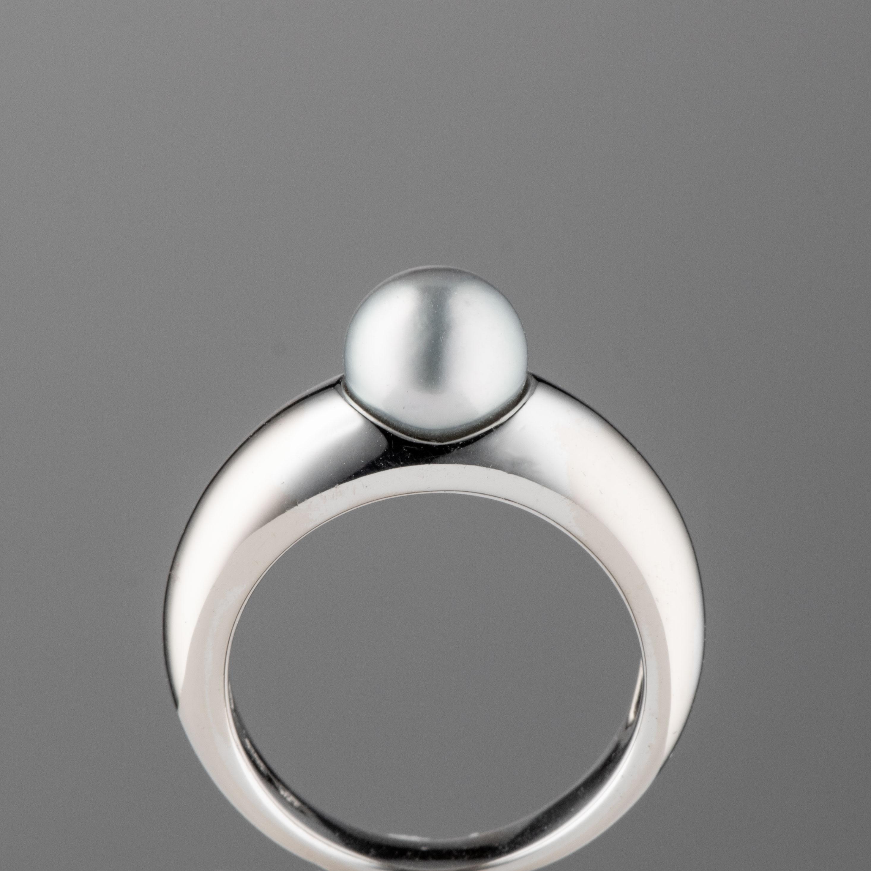 Aha ring, hvitt gull, perle