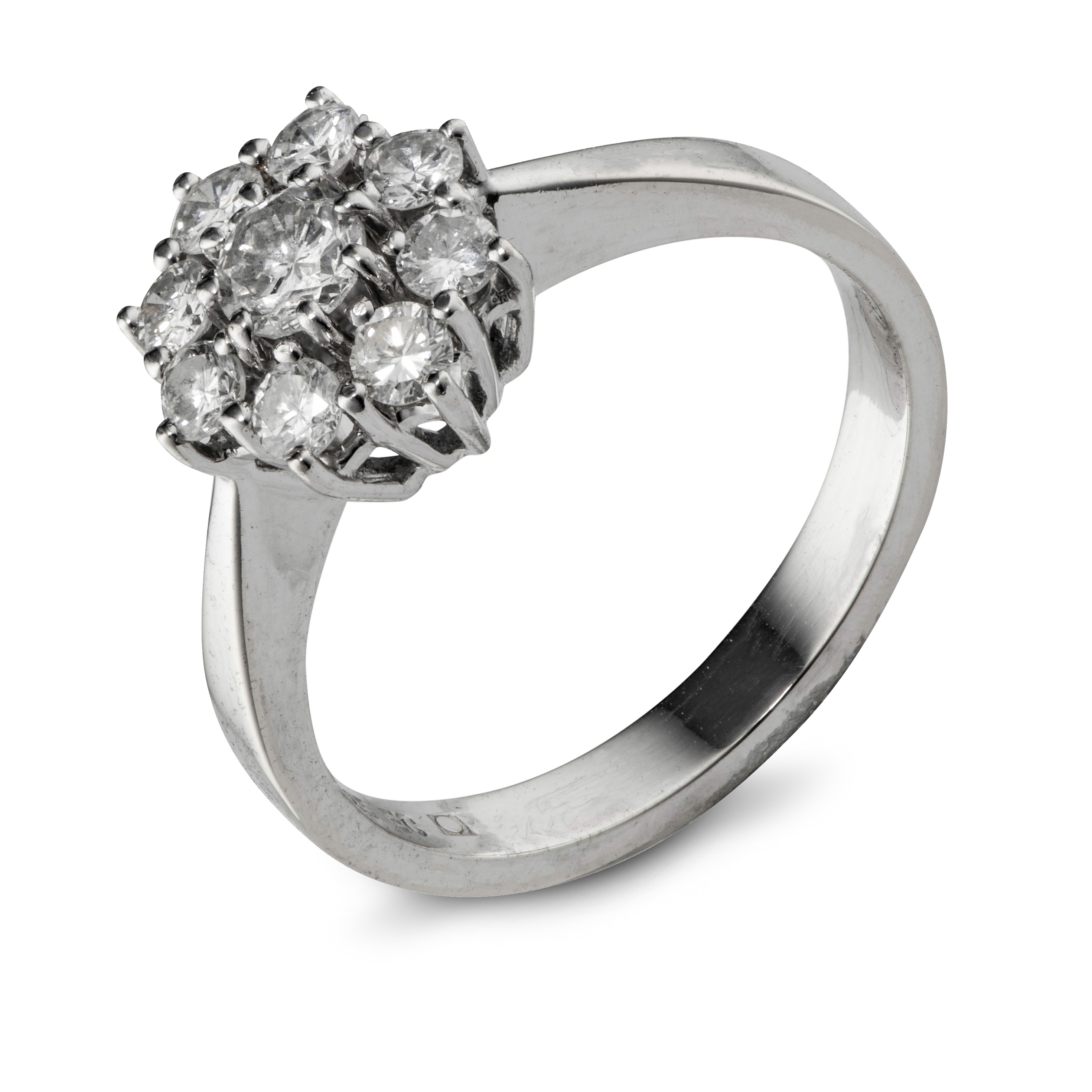 Einar Christophersen rosettring, hvitt gull diamanter (0,73 ct.)