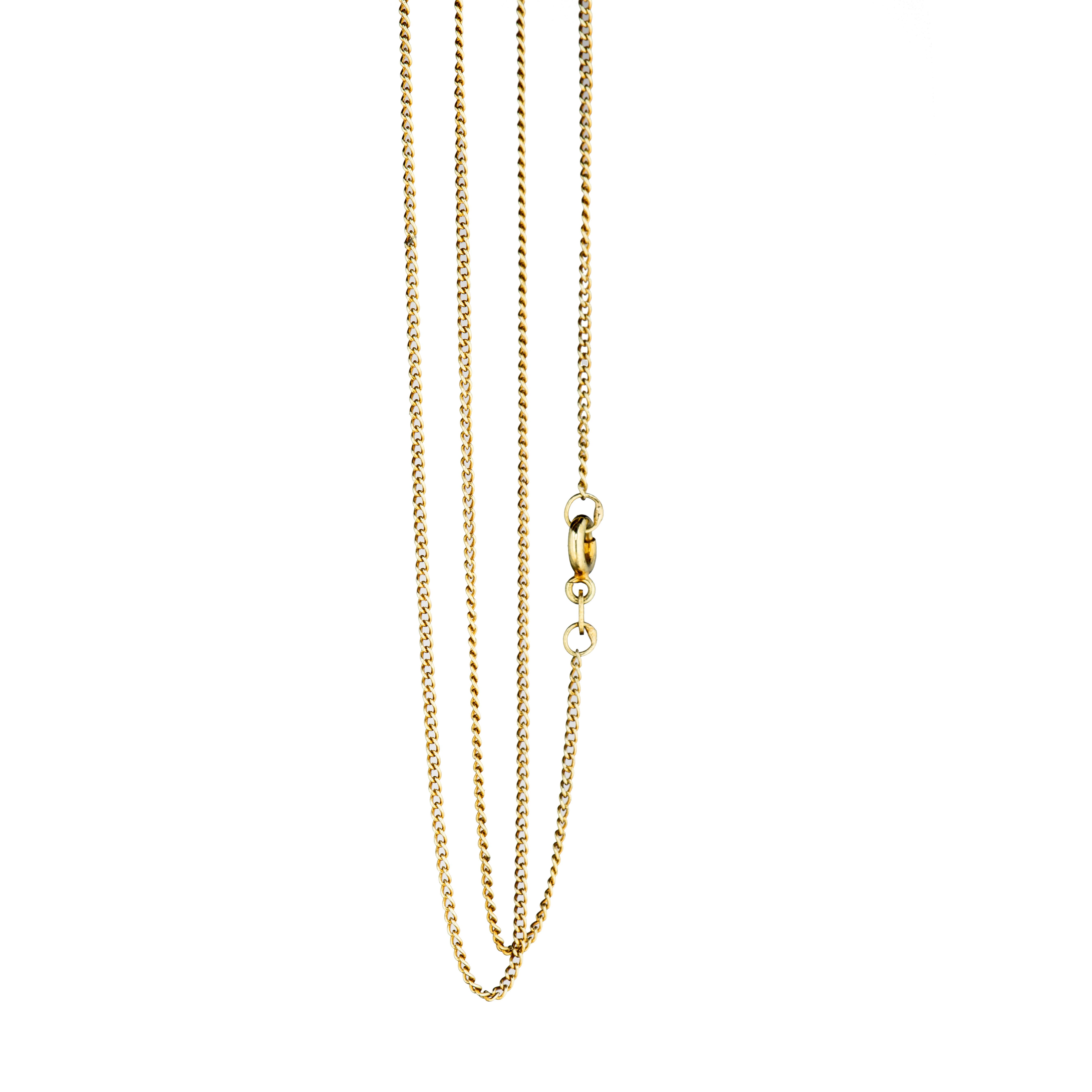 Panser halskjede 39 cm, gult gull