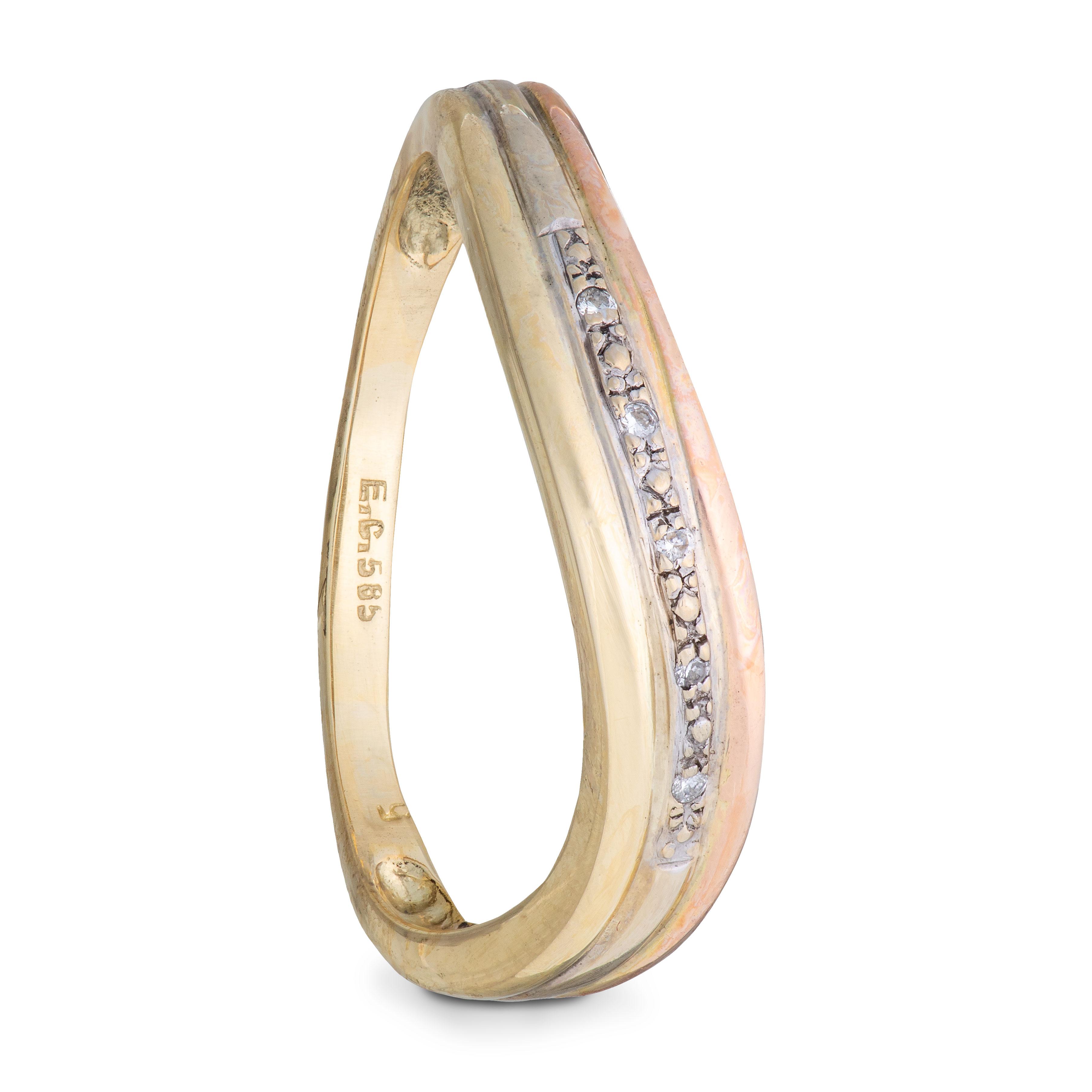 Einar Christophersen ring, gult, hvitt, rosa gull