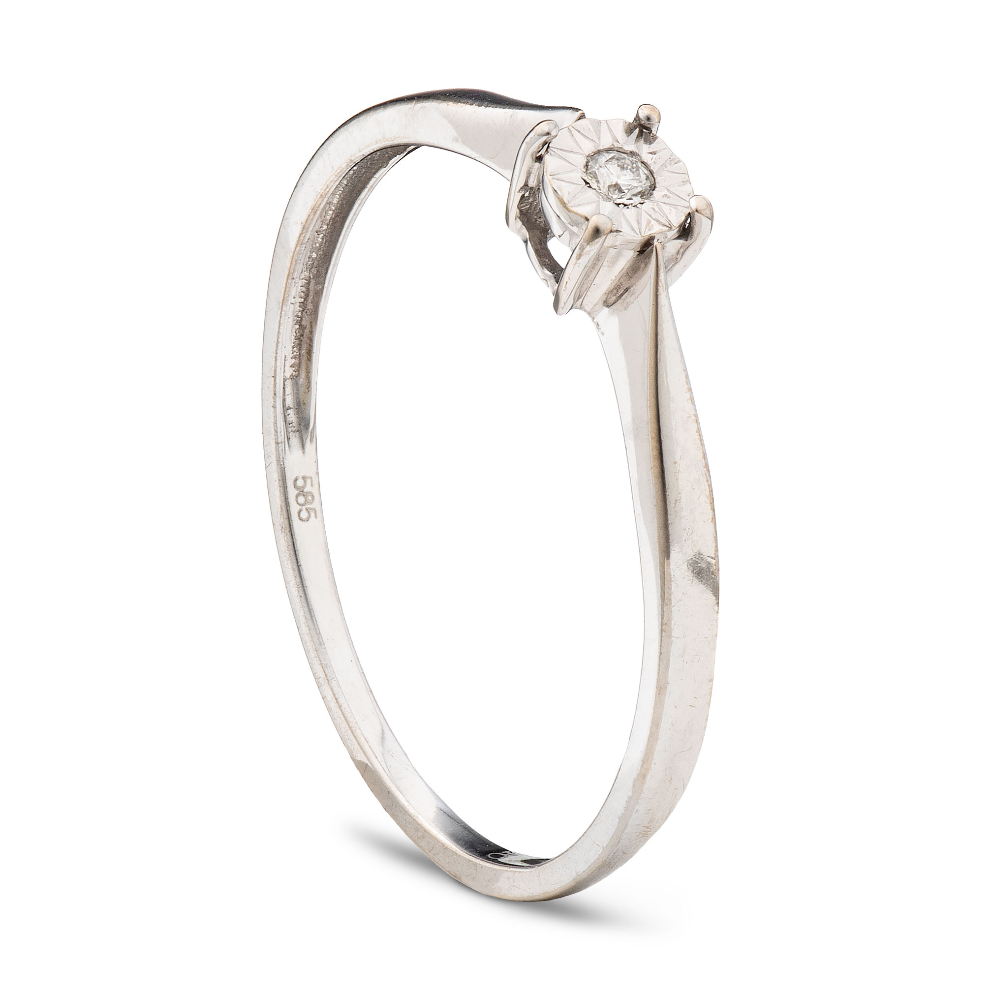 Ring, hvitt gull, diamant (0,02 ct.)