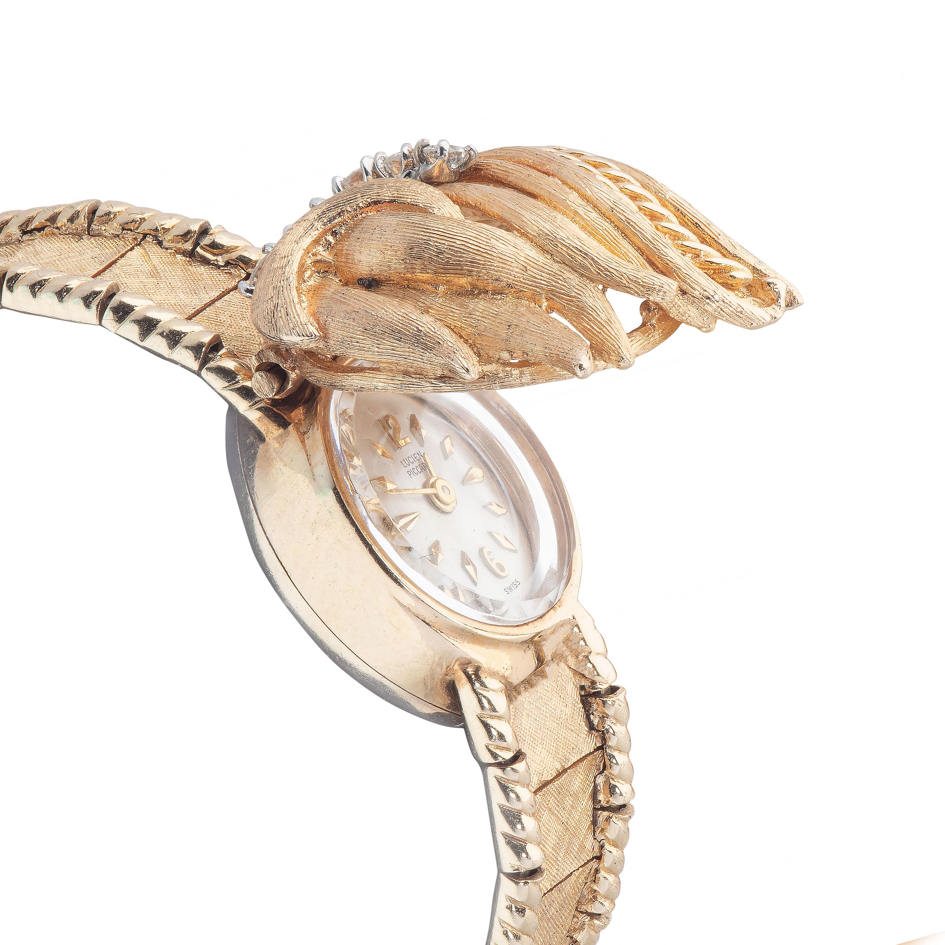 Lucien Piccard dame armbåndsur, gult gull, diamant