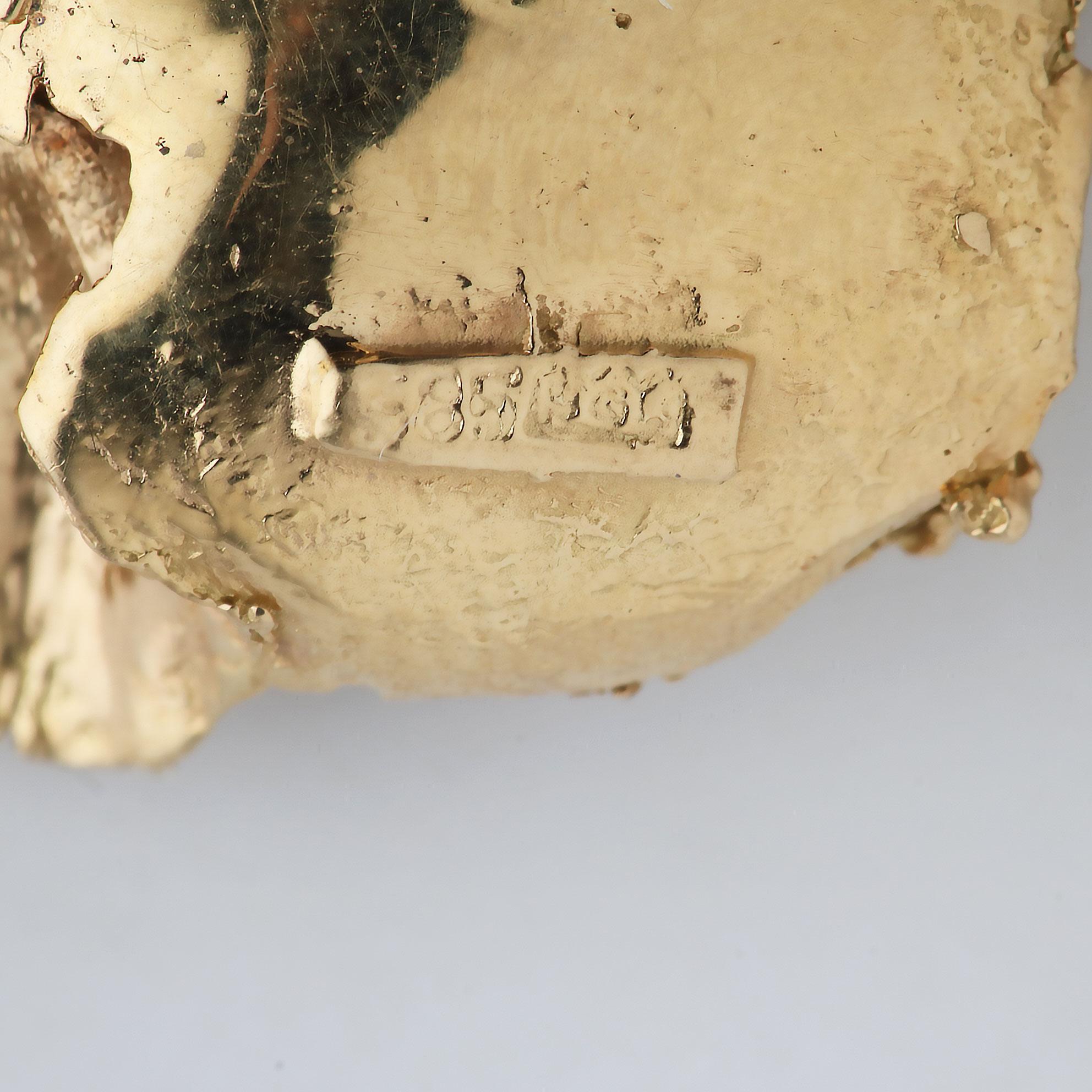 Bladbrosje, diamant (0,3ct), gult gull