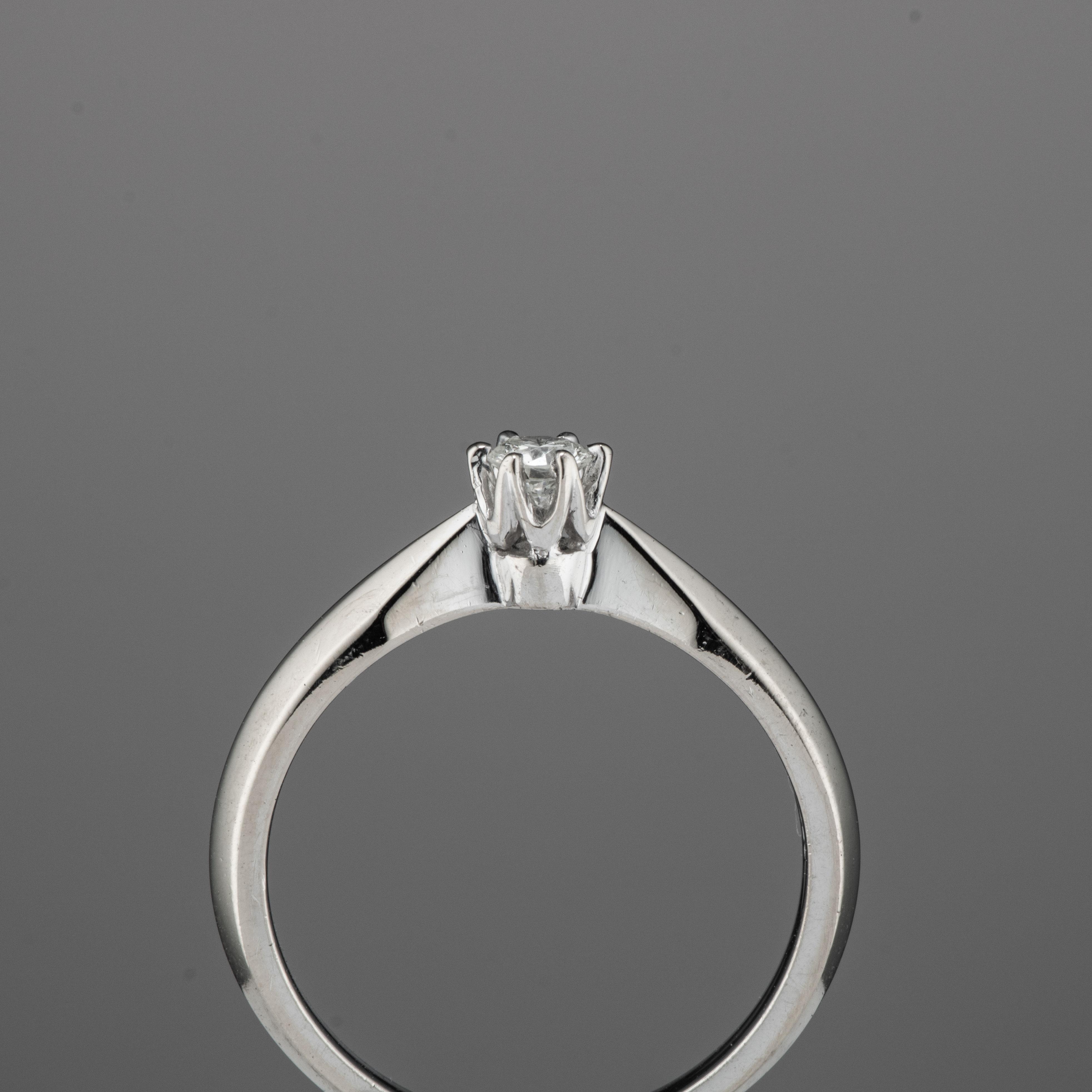 Einar Christophersen ring, hvitt gull, diamant (0,15 ct.)