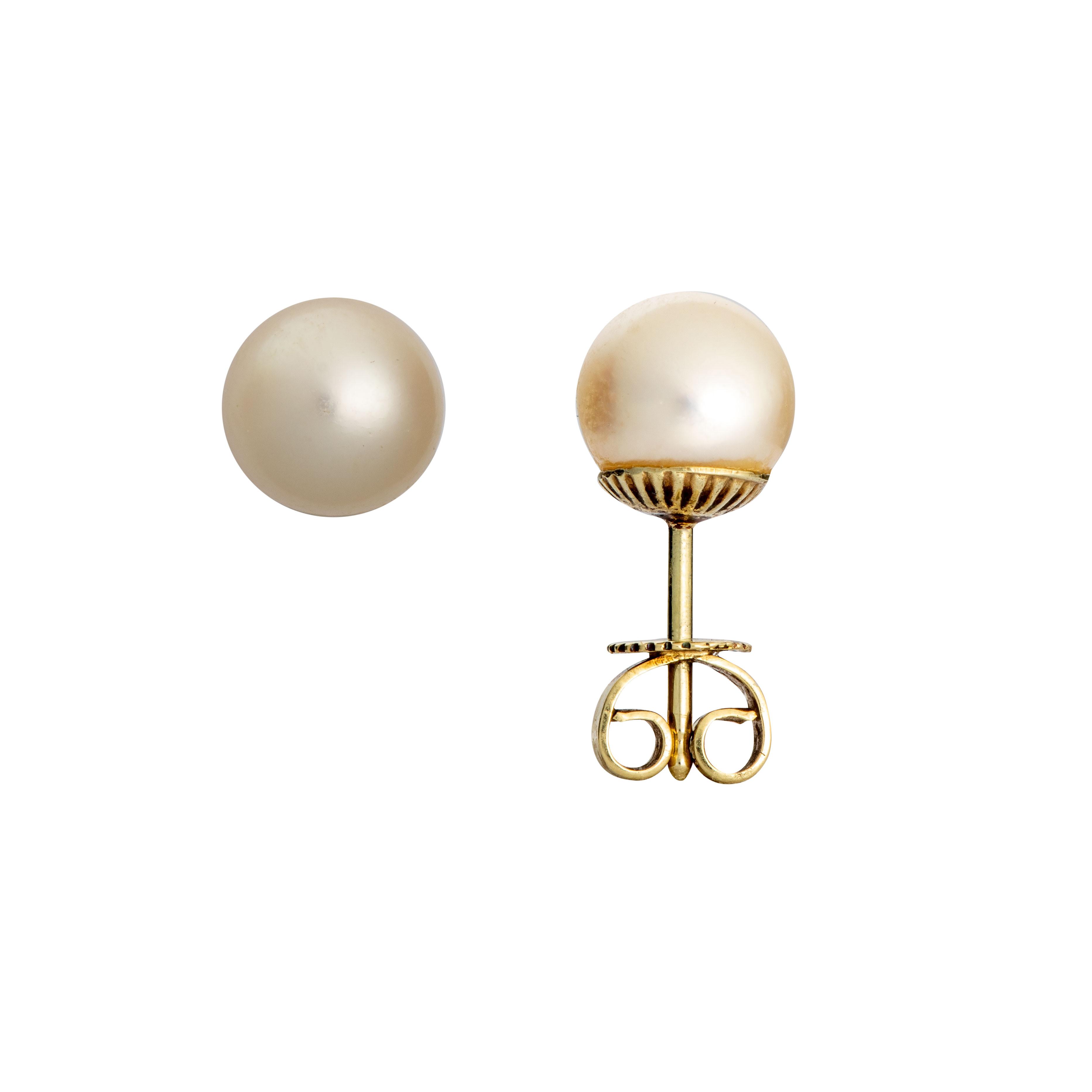 Øredobber, gult gull, perler