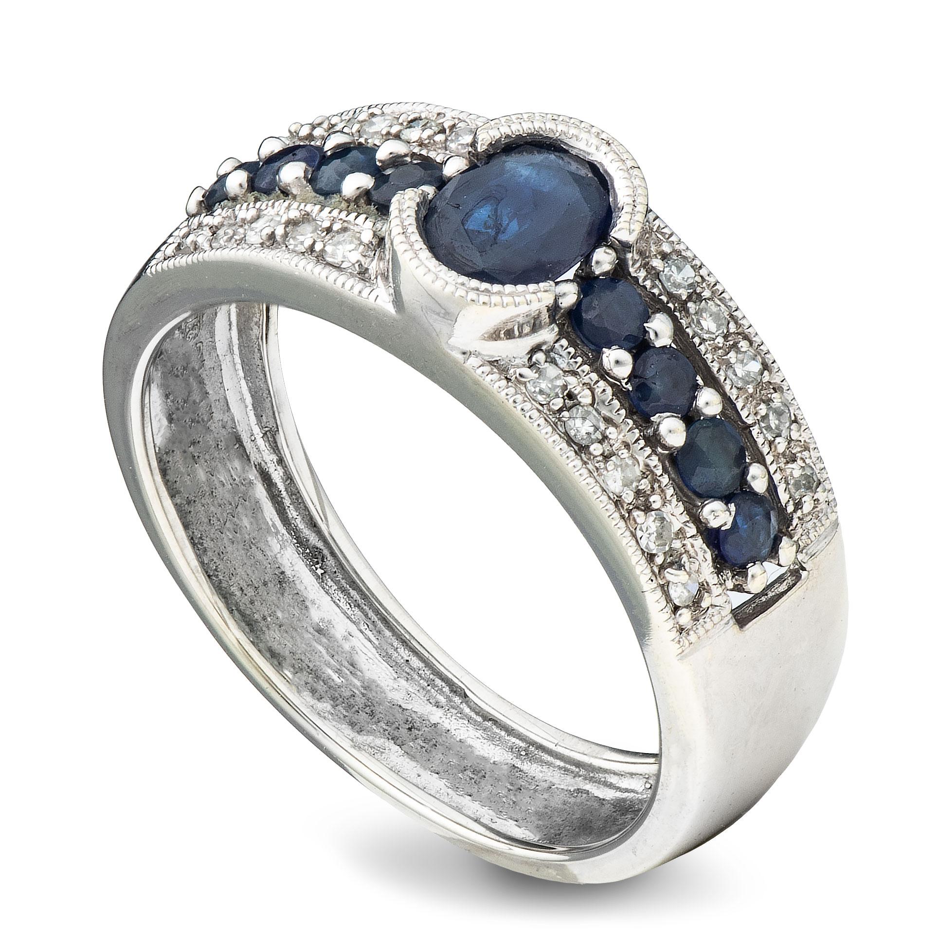 Ring, hvitt gull, safirer, diamanter