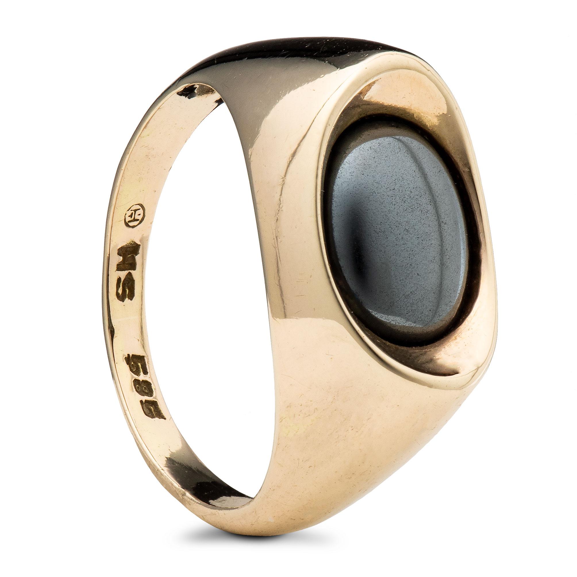 Ring, gult gull, hematitt