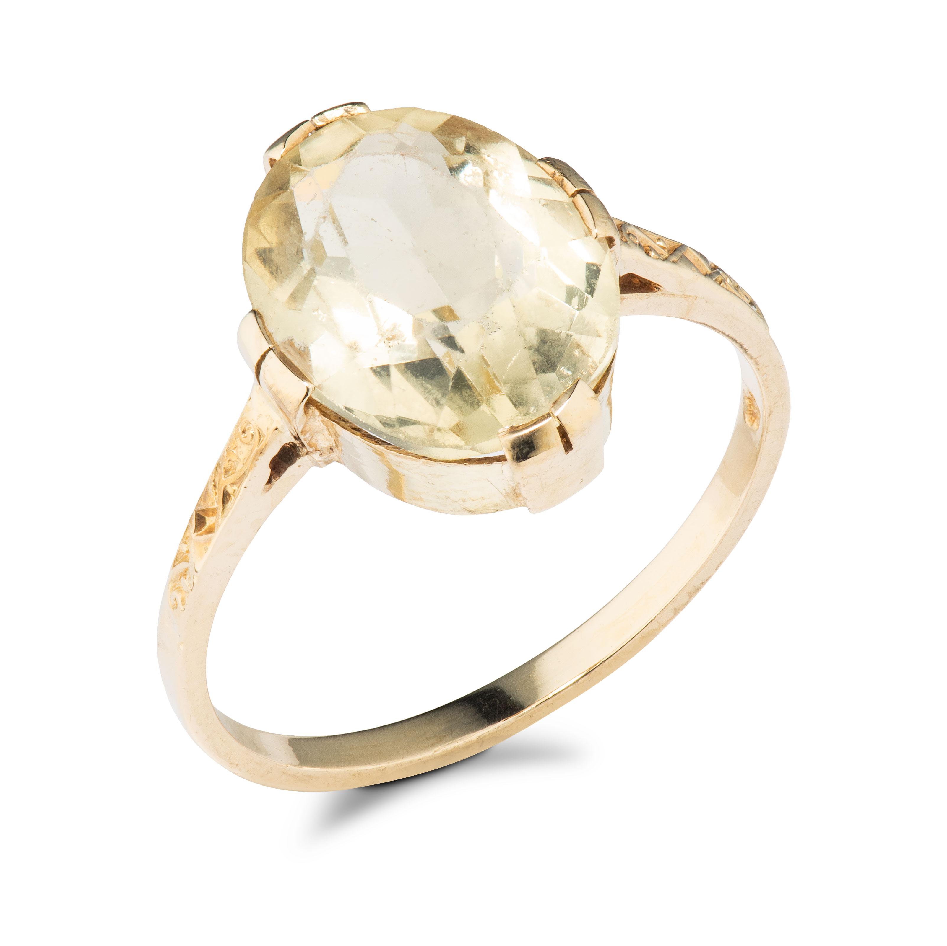 Hroar Prydz ring, gult gull, røkkvarts