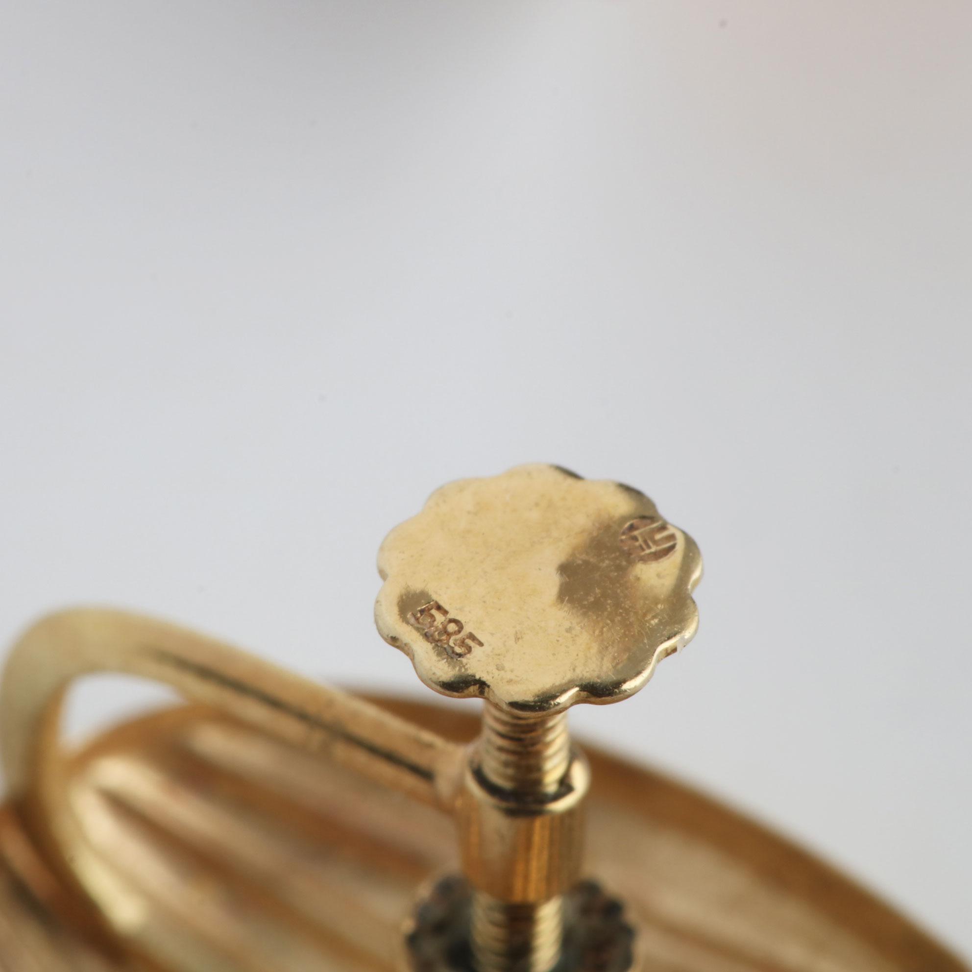 Skjell ørepynt m. skru, gult gull