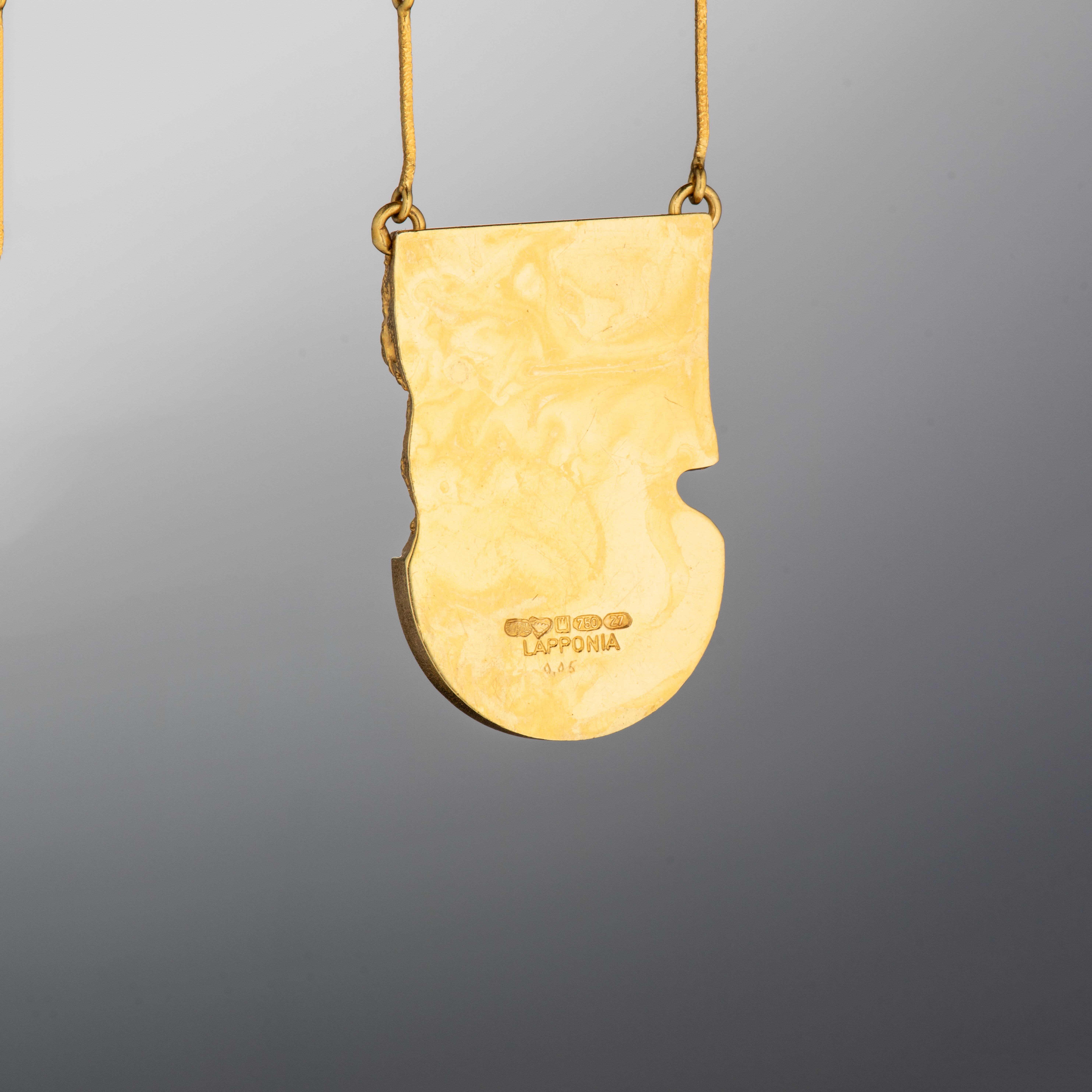Björn Weckström Lapponia halssmykke, gult gull, zoisitt, diamant (0,05 ct.)