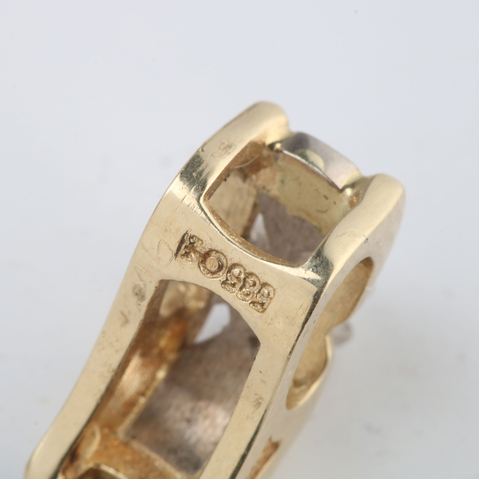 Retro anheng, gult, hvitt gull, diamant (0,10ct)