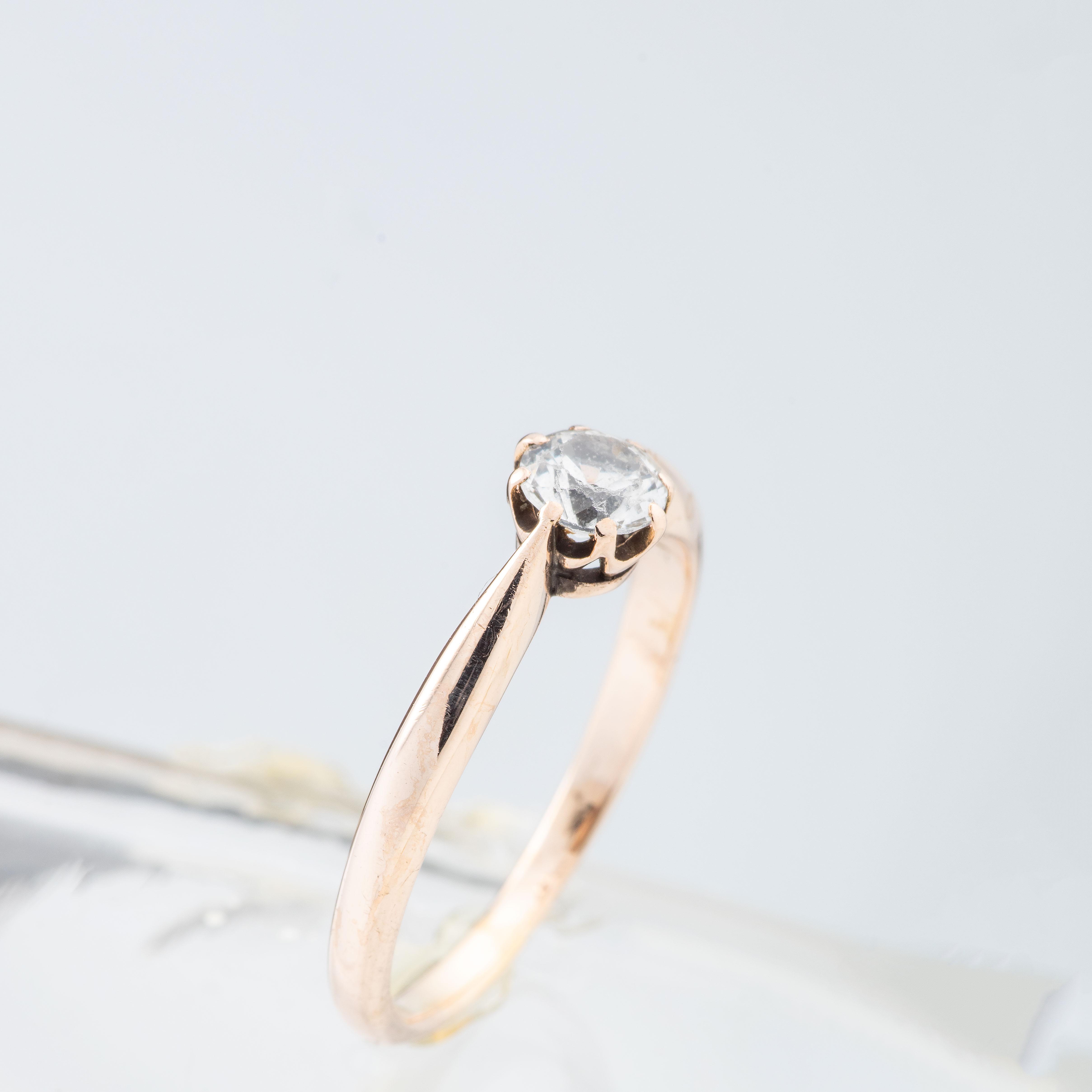 Ring, rosegull, hvit topas