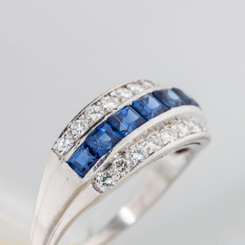 Ring, iridium, platinum, safirer, diamanter (0,72 ct)