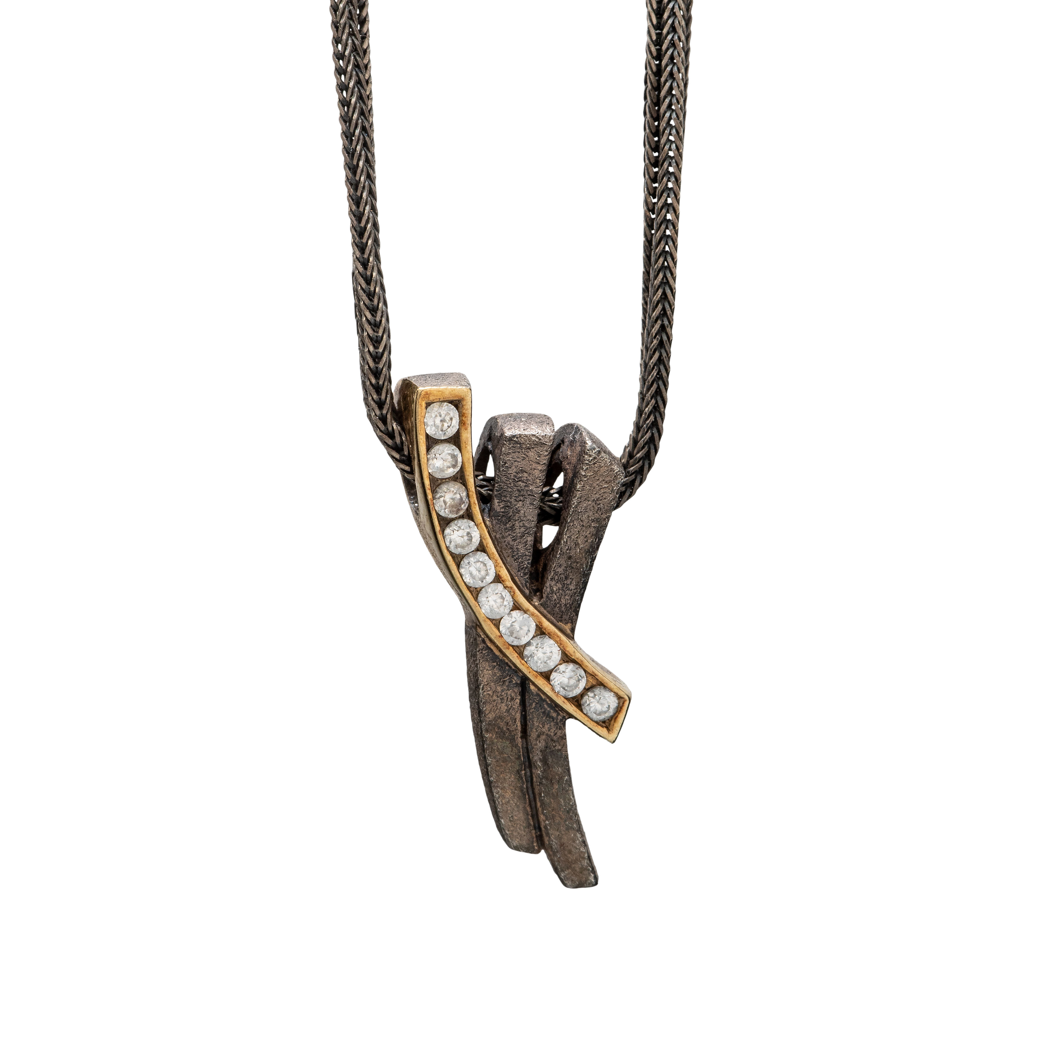 Pan halssmykke, oksidert sølv, cubic zirconia