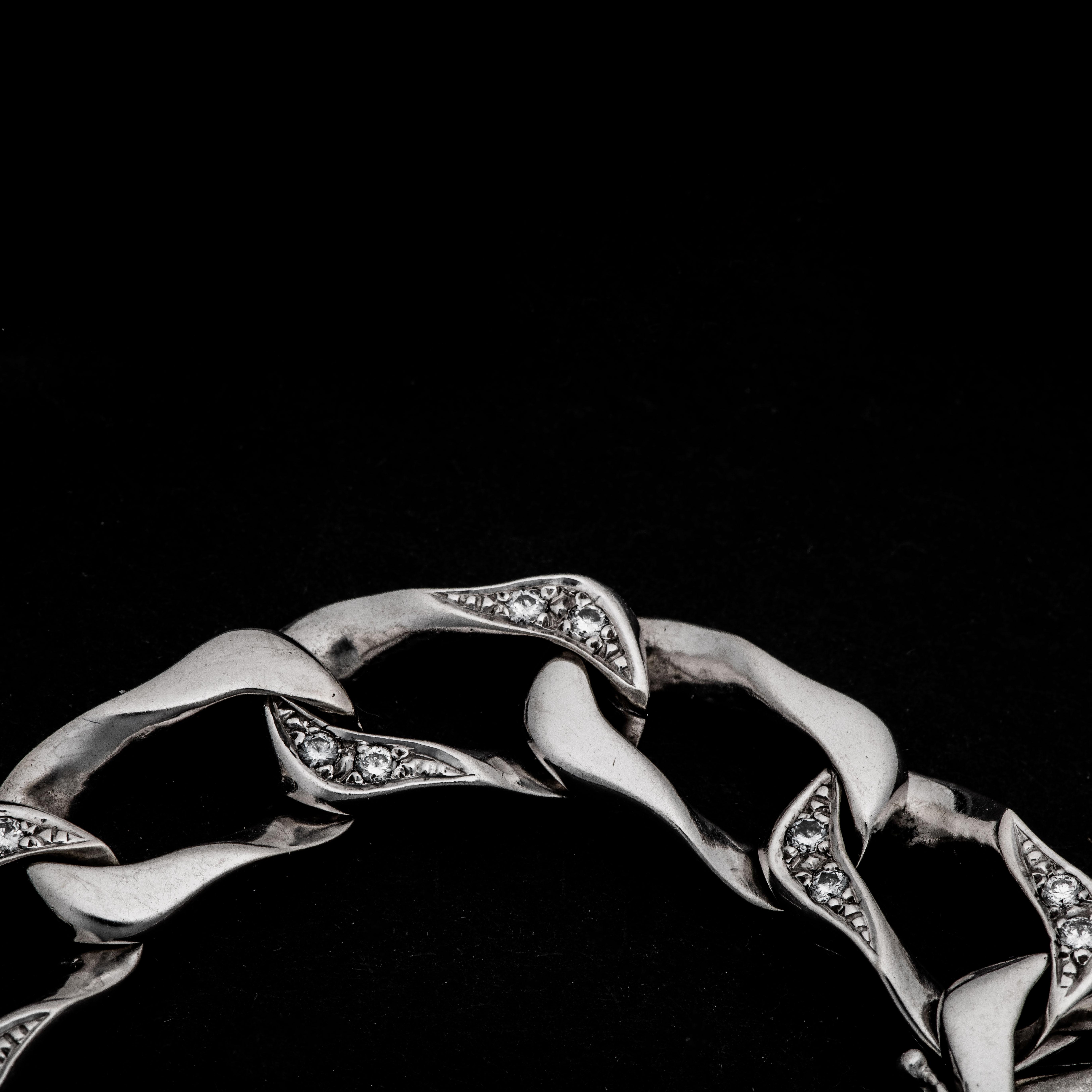 Avlangt Panser armbånd, hvitt gull, diamanter