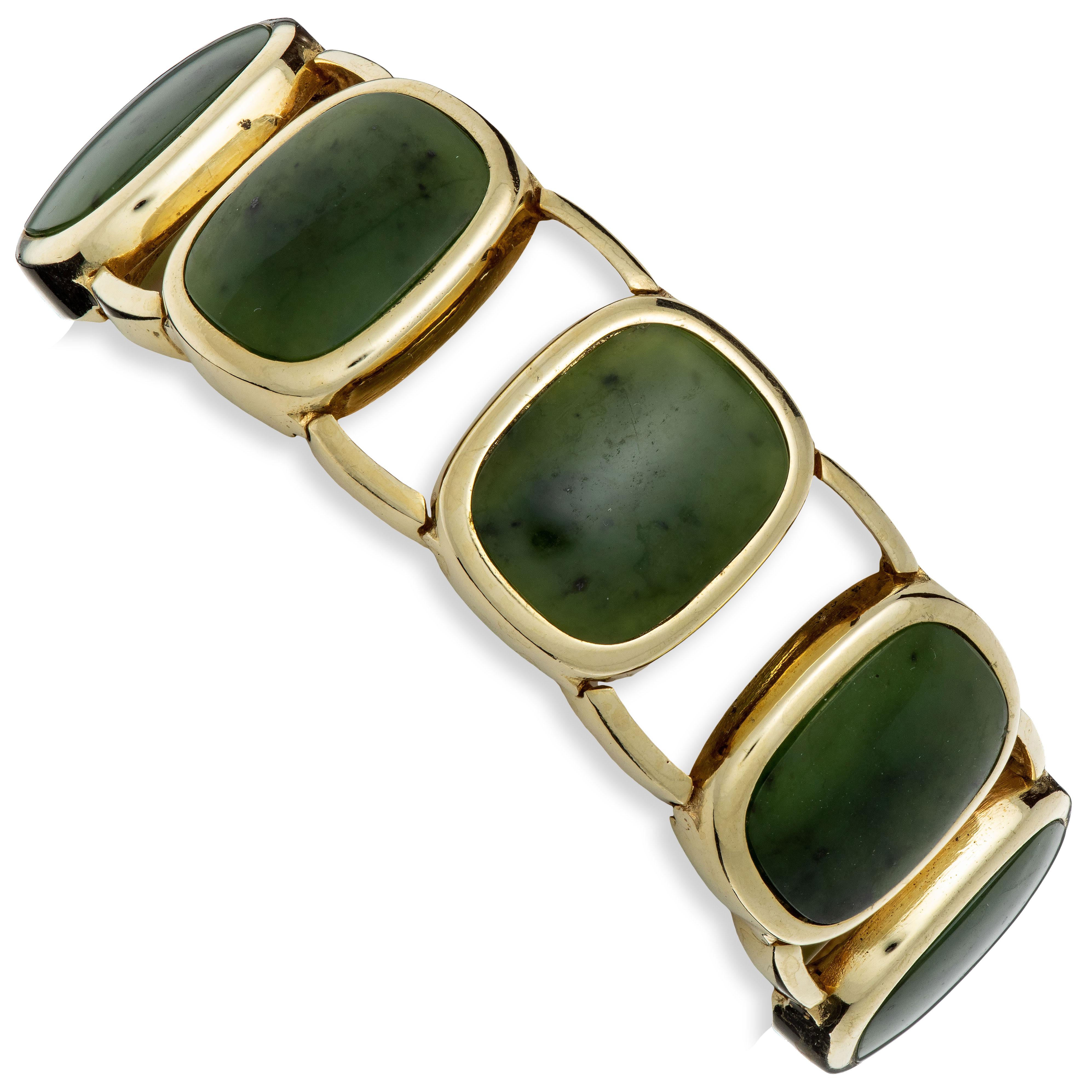Jade armbånd, gult gull