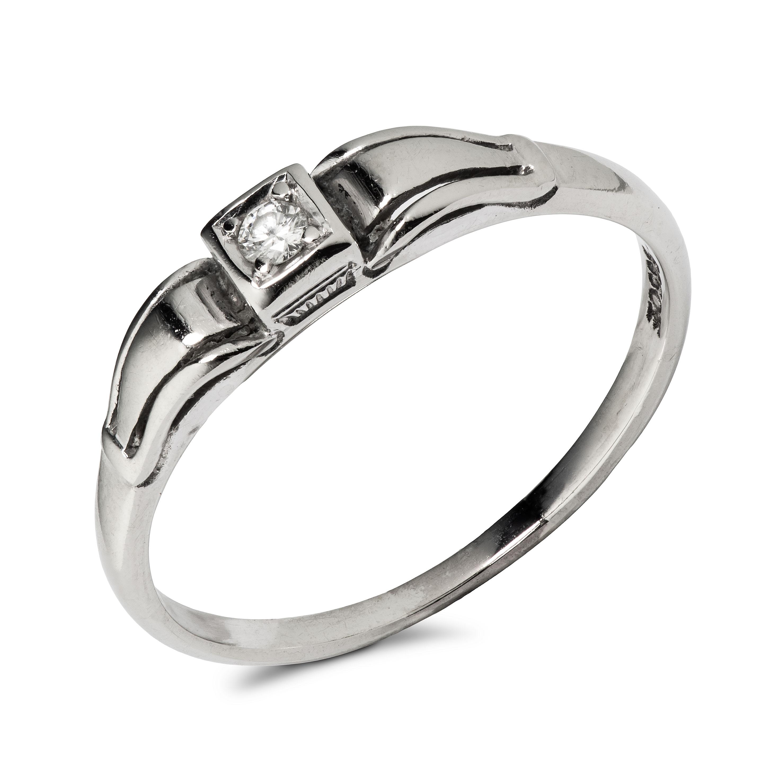 Ring, hvitt gull, diamant (0,06 ct.)