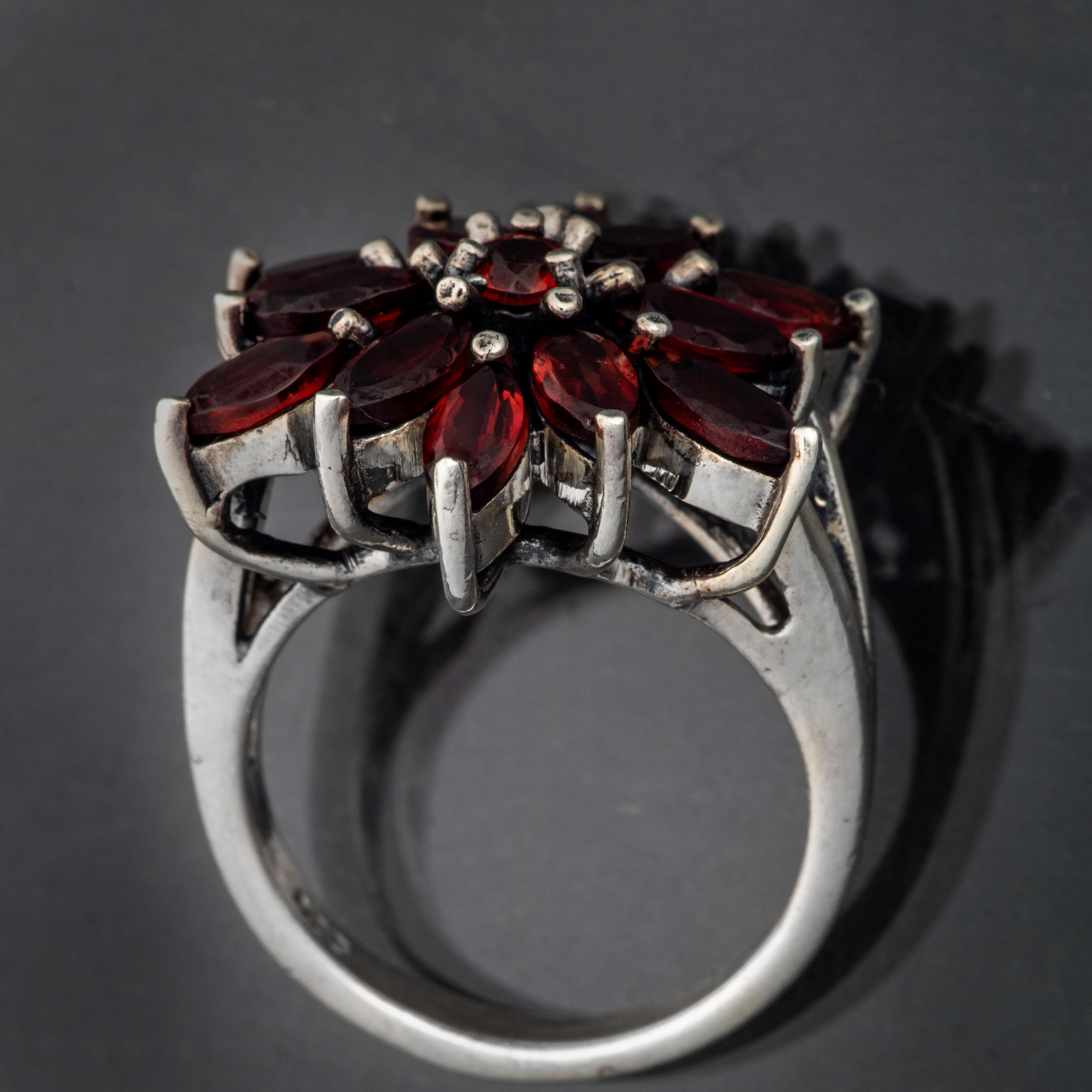Ring, sterling sølv, granater