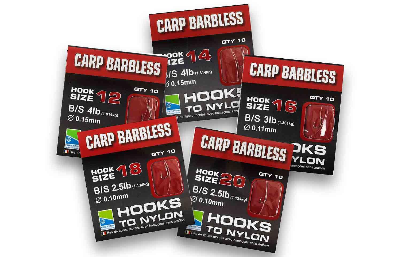 Preston Innovations Carp Barbless Hooks to Nylon