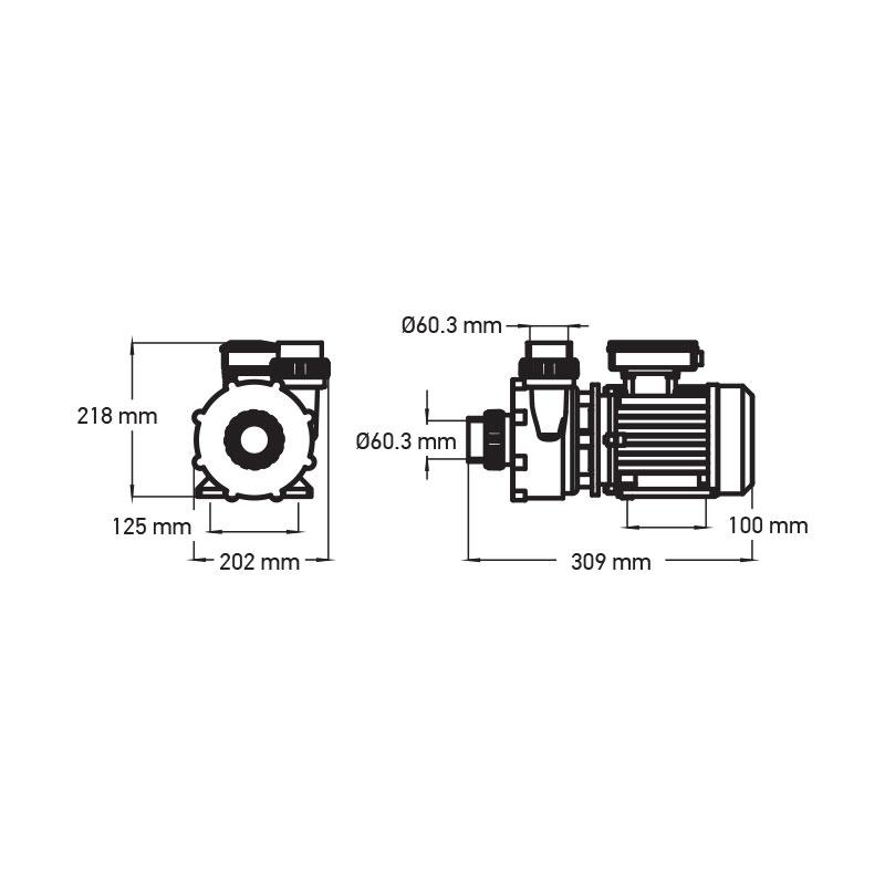 Hierontapumppu 3 HP - 1-nopeuksinen