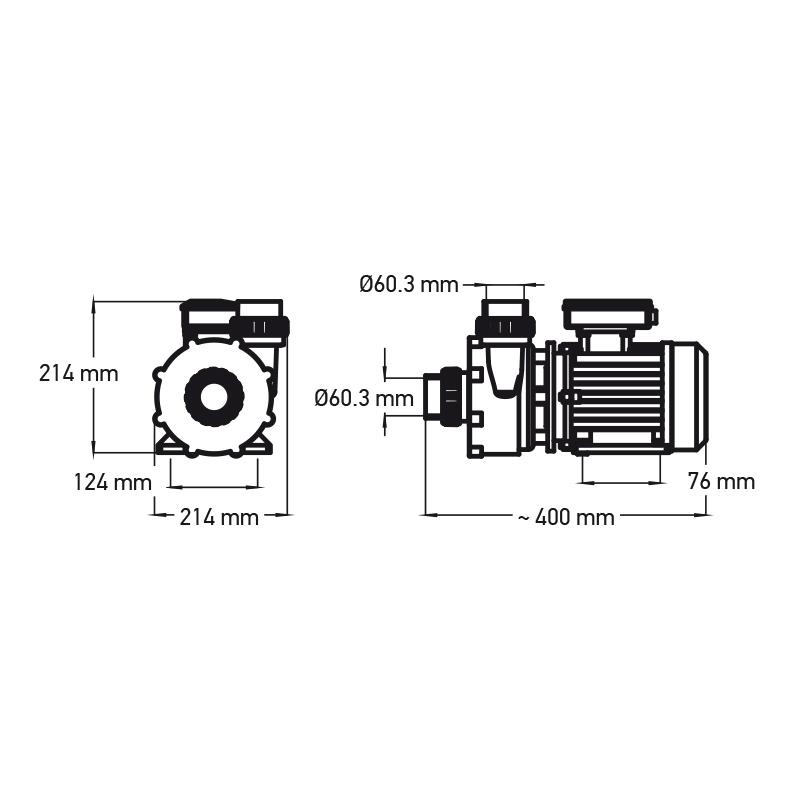 Hierontapumppu 1 HP 1-nopeuksinen