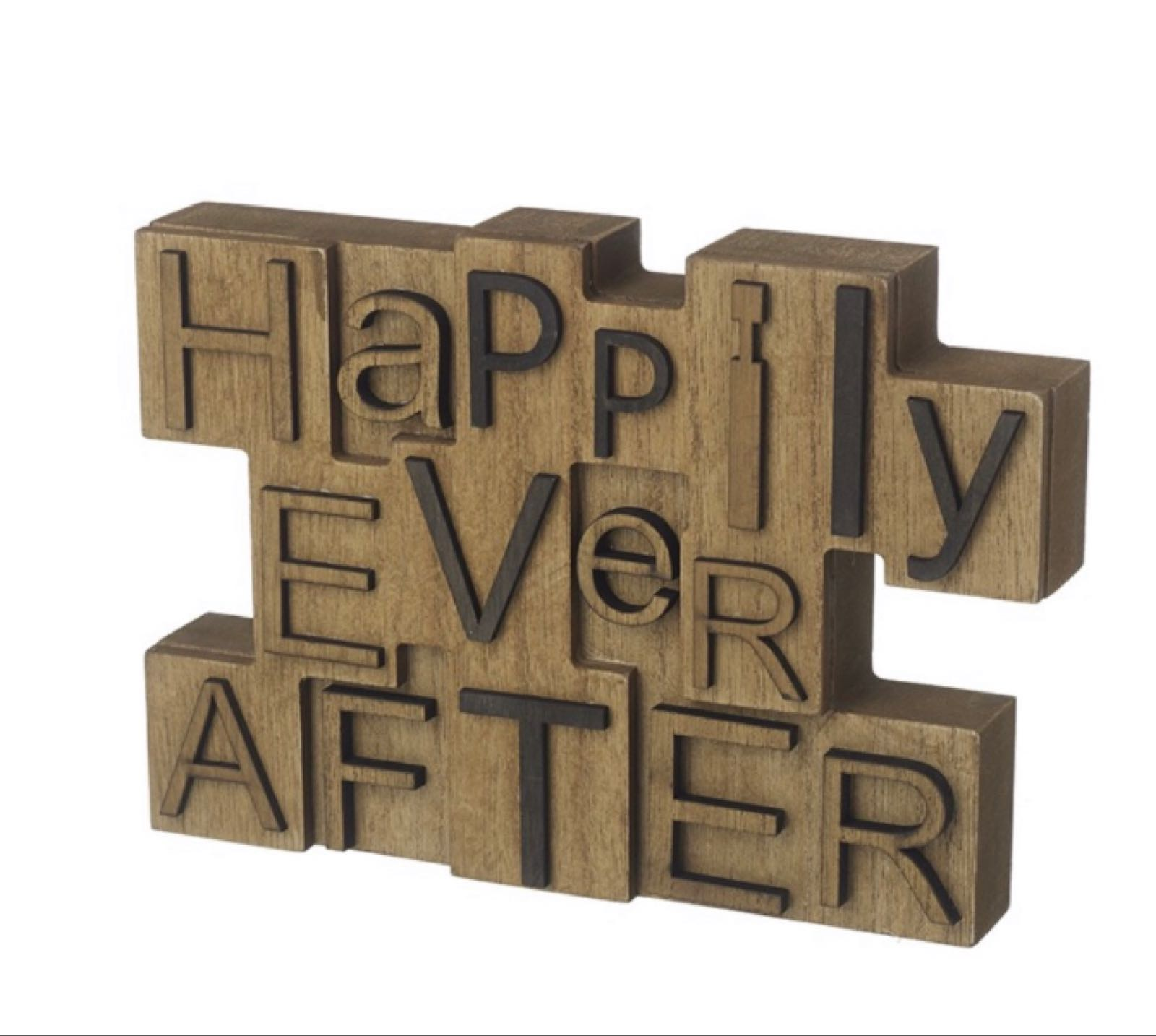 Happily ever after wooden block