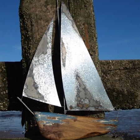 Wall Yacht in Tin & Wood