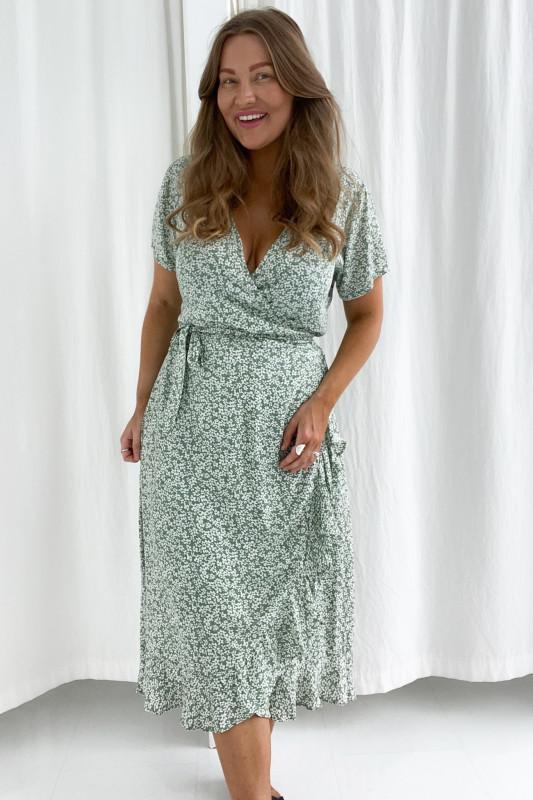 BYIC - Mille kjole - Mintgrøn blomsterprint