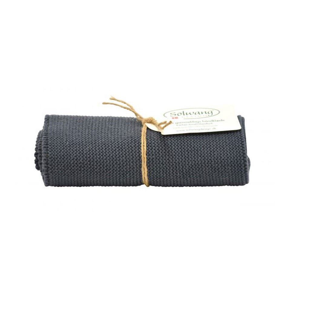 Strikket håndklæde 32x47cm, mørk grå