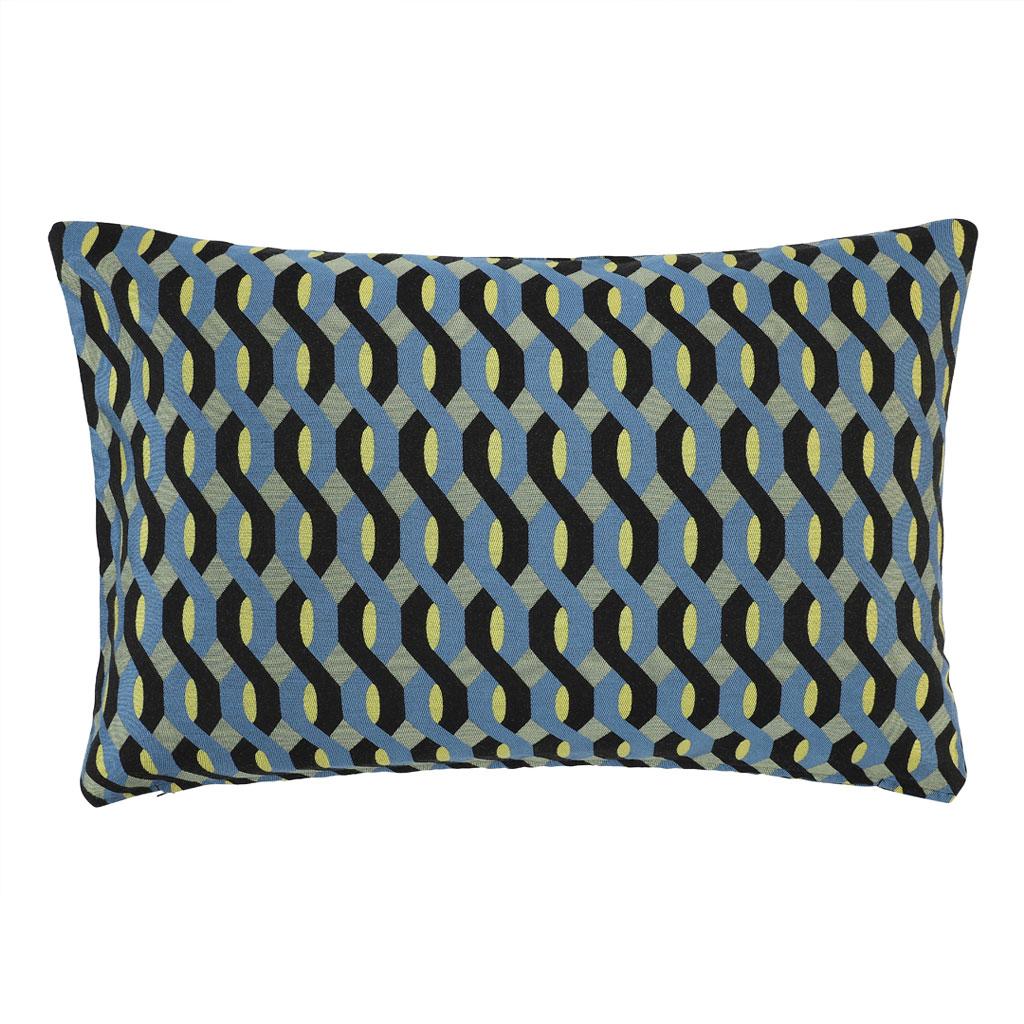 Pude, blå grafisk mønster 40x60cm