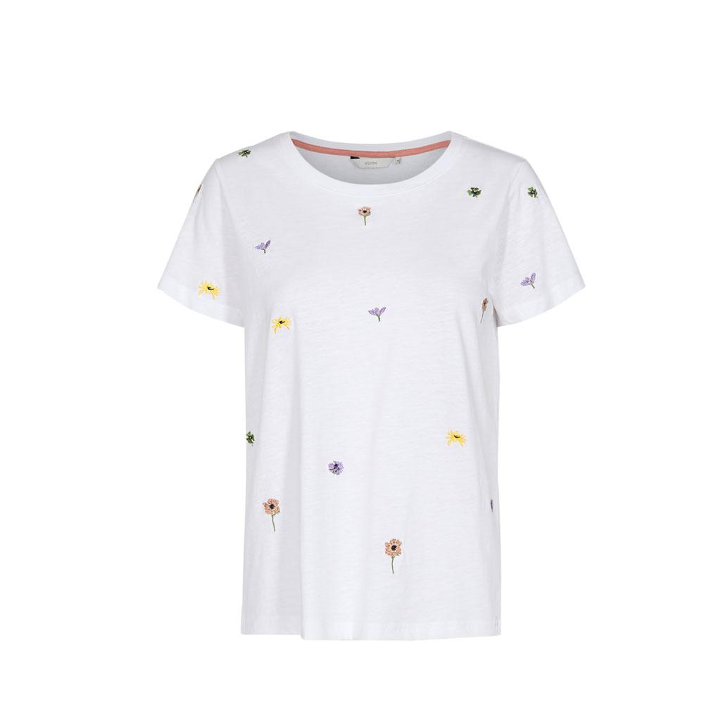 T-shirt, Øko bomuld, lilla med print, Nümph